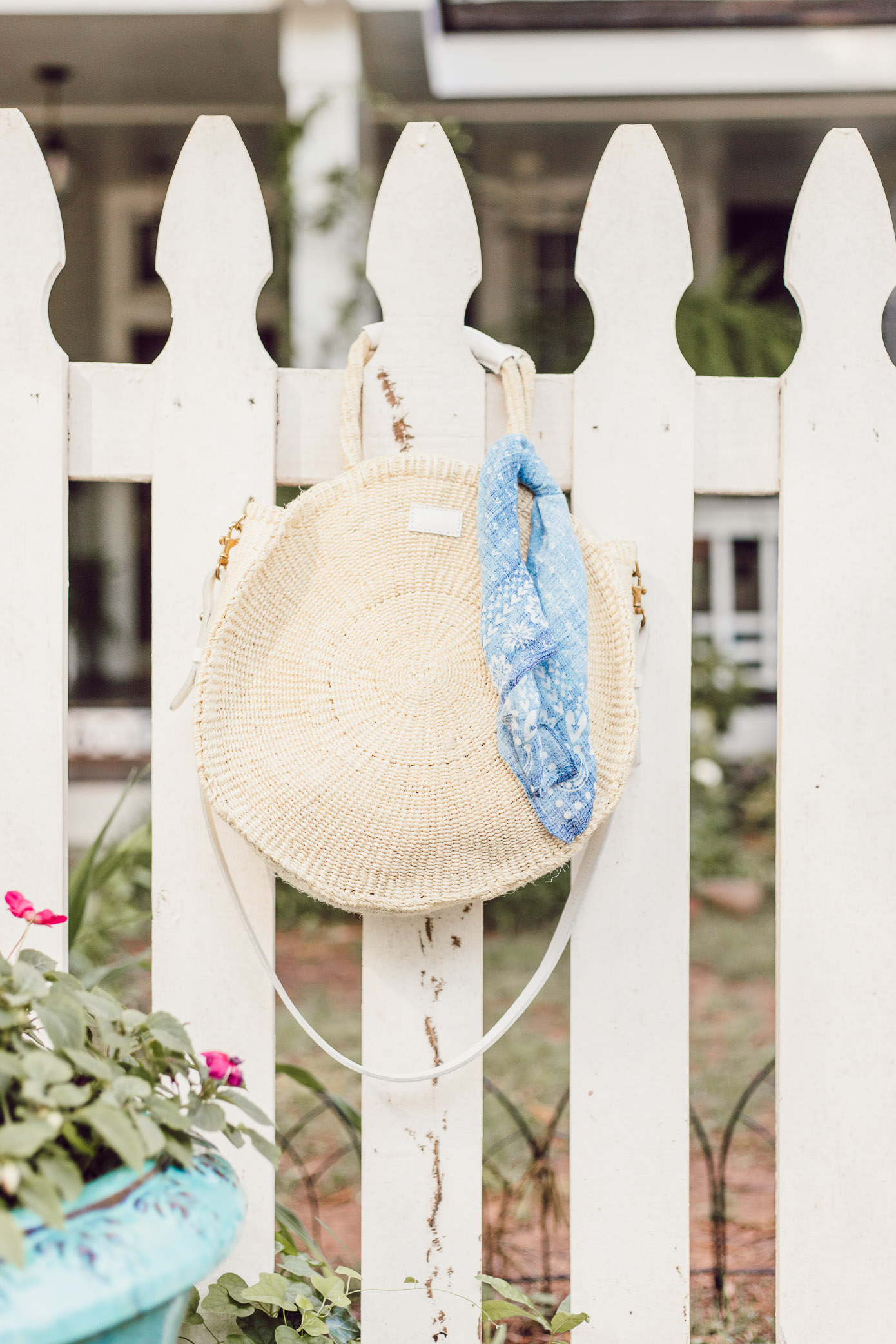 Clare V. Round Straw Tote | Blue Kimono Dress for Summer styled on Louella Reese
