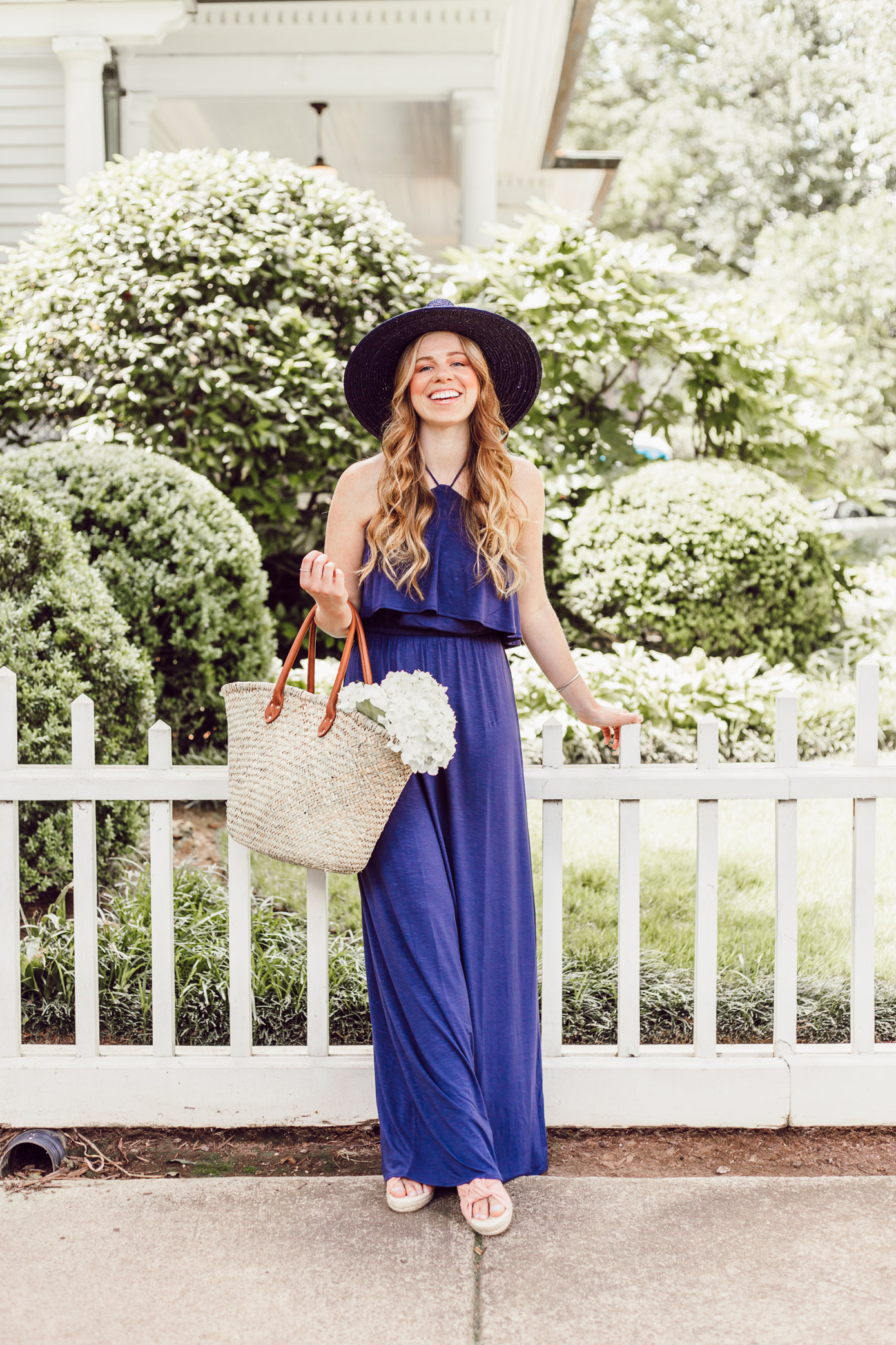 Navy Jersey Maxi Dress featured by popular Charlotte fashion blog, Louella