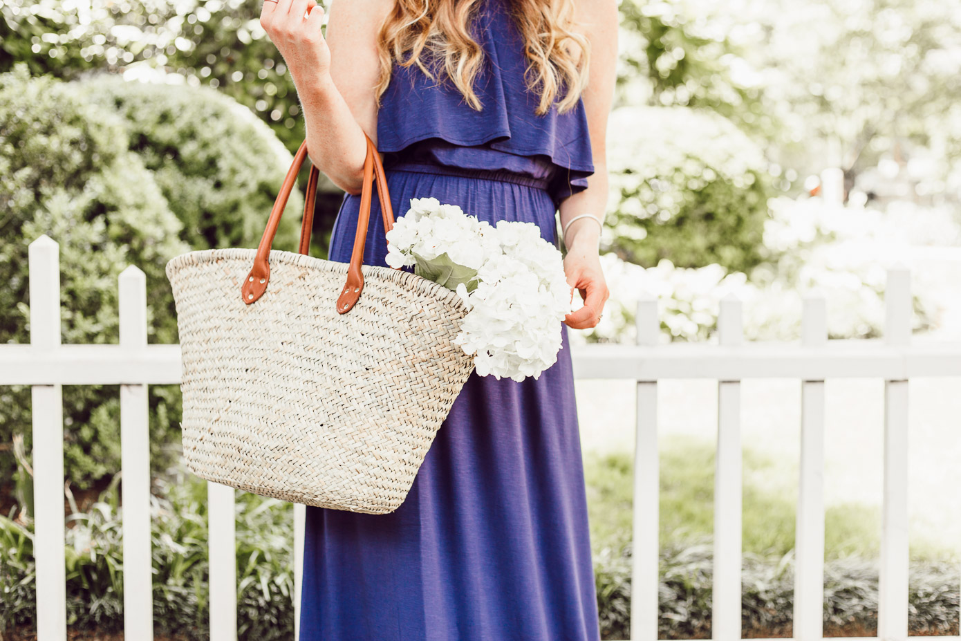 Gap Natural Straw Tote - Navy Jersey Maxi Dress featured by popular Charlotte fashion blog, Louella