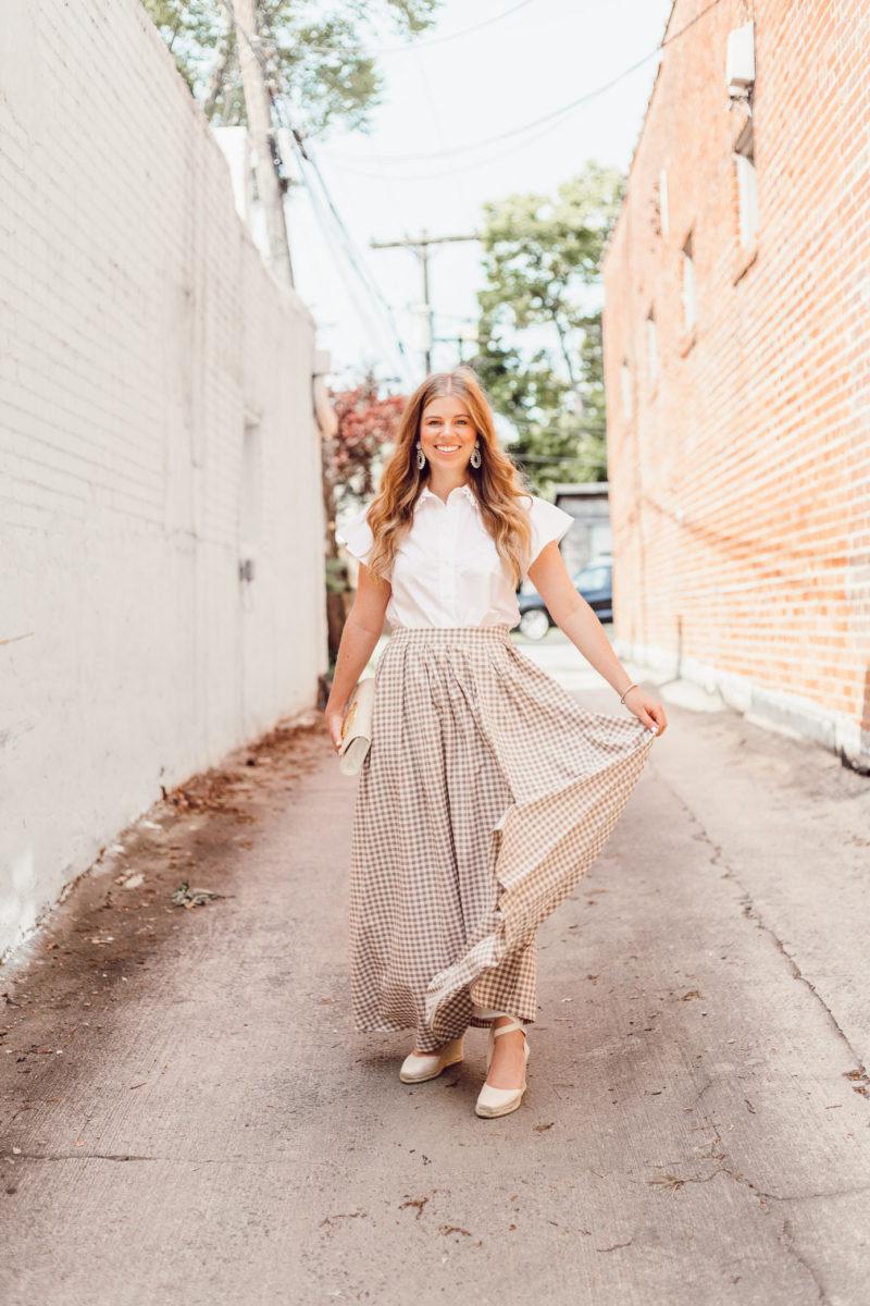 Gingham Maxi Skirt Styled for Summer