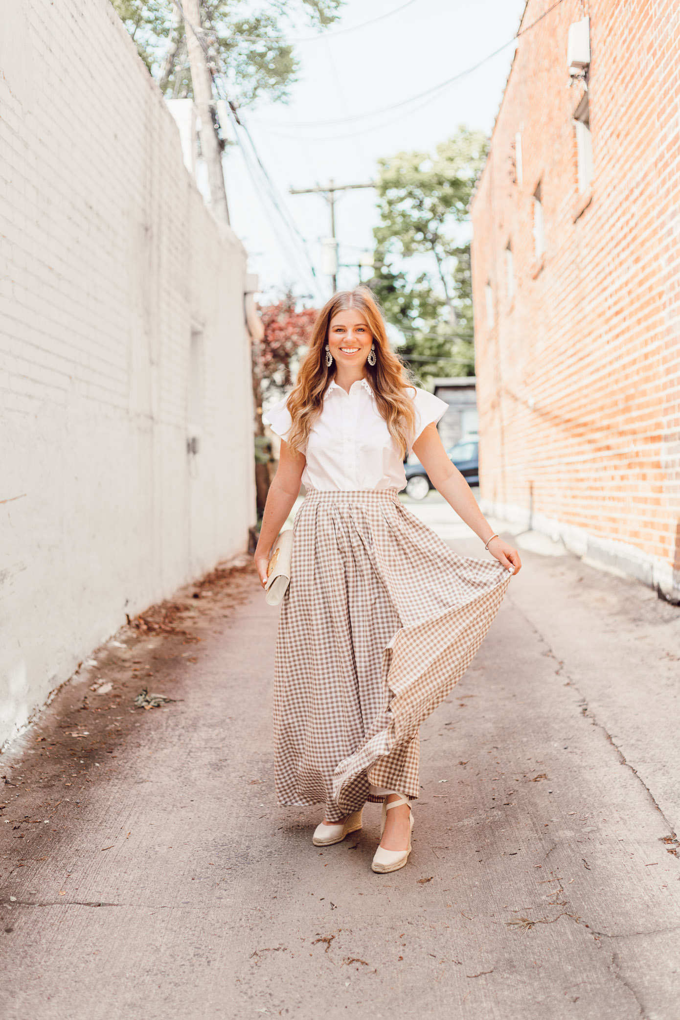 Feminine White Button Down Blouse - A Summer Gingham Maxi Skirt styled by Laura Leigh of Louella Reese #maxiskirt #gingham #southernstyle