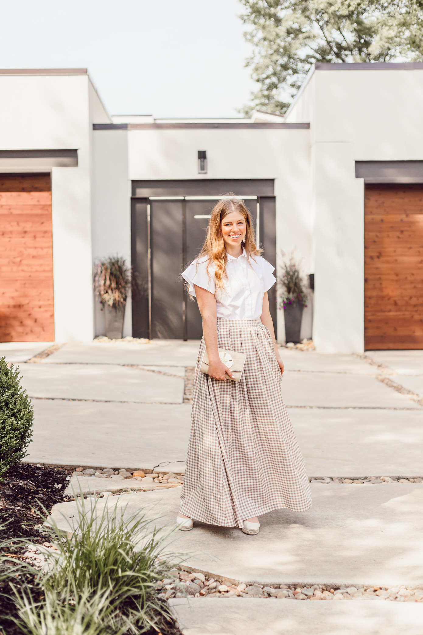 Draper James Feminine White Button Down Blouse - A Summer Gingham Maxi Skirt styled by Laura Leigh of Louella Reese #maxiskirt #gingham #southernstyle