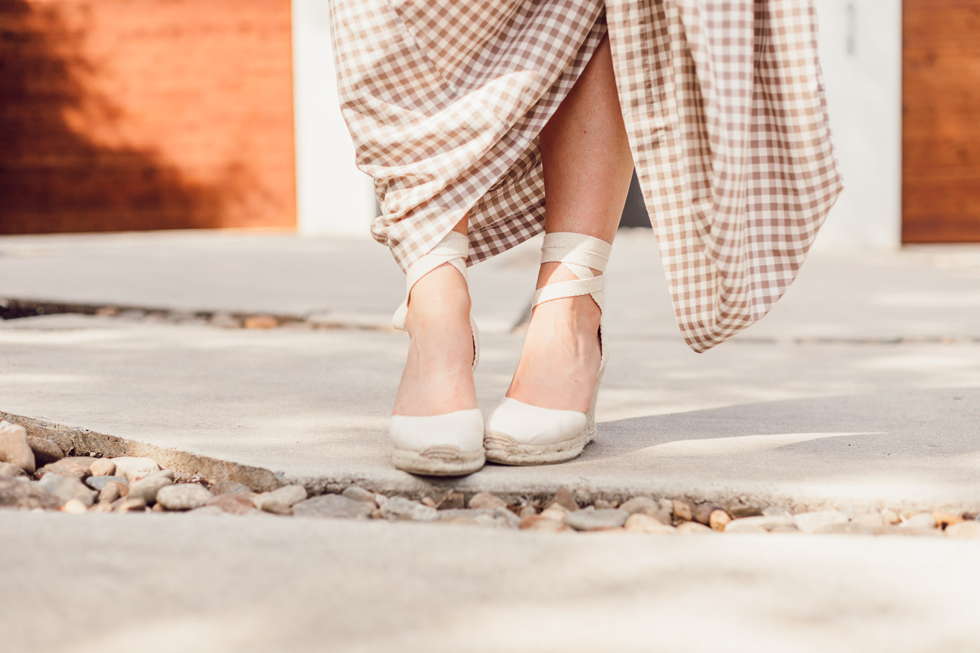 Soludos Lace Up Espadrille Wedges - A Summer Gingham Maxi Skirt styled by Laura Leigh of Louella Reese #maxiskirt #gingham #southernstyle