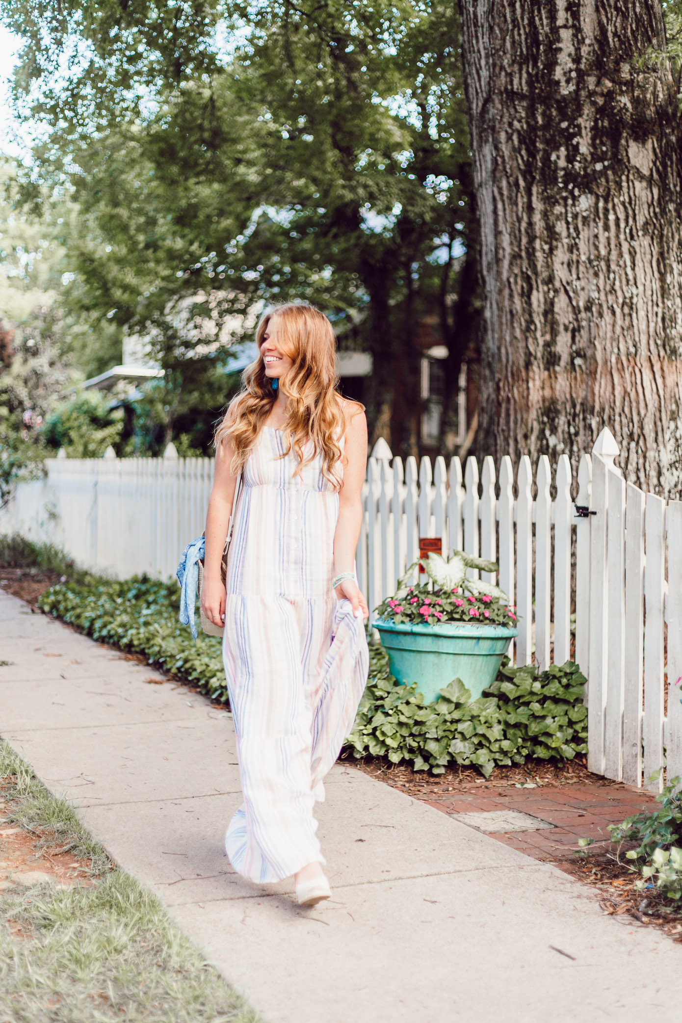 Summer Weekend Style from Friday to Sunday featured by Louella Reese | Splendid Striped Linen Maxi Dress
