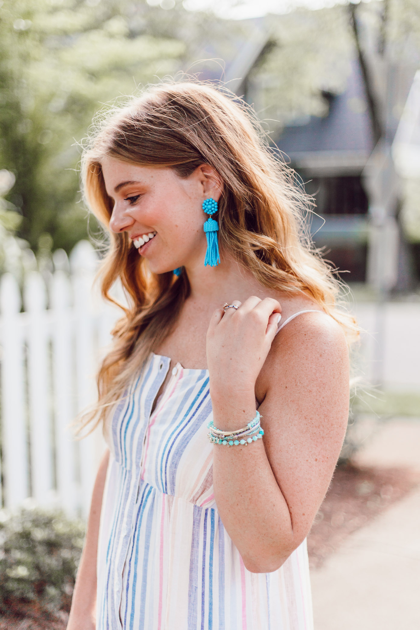 Summer Weekend Style from Friday to Sunday featured by Louella Reese | Splendid Striped Linen Maxi Dress, Turquoise Tassel Earrings