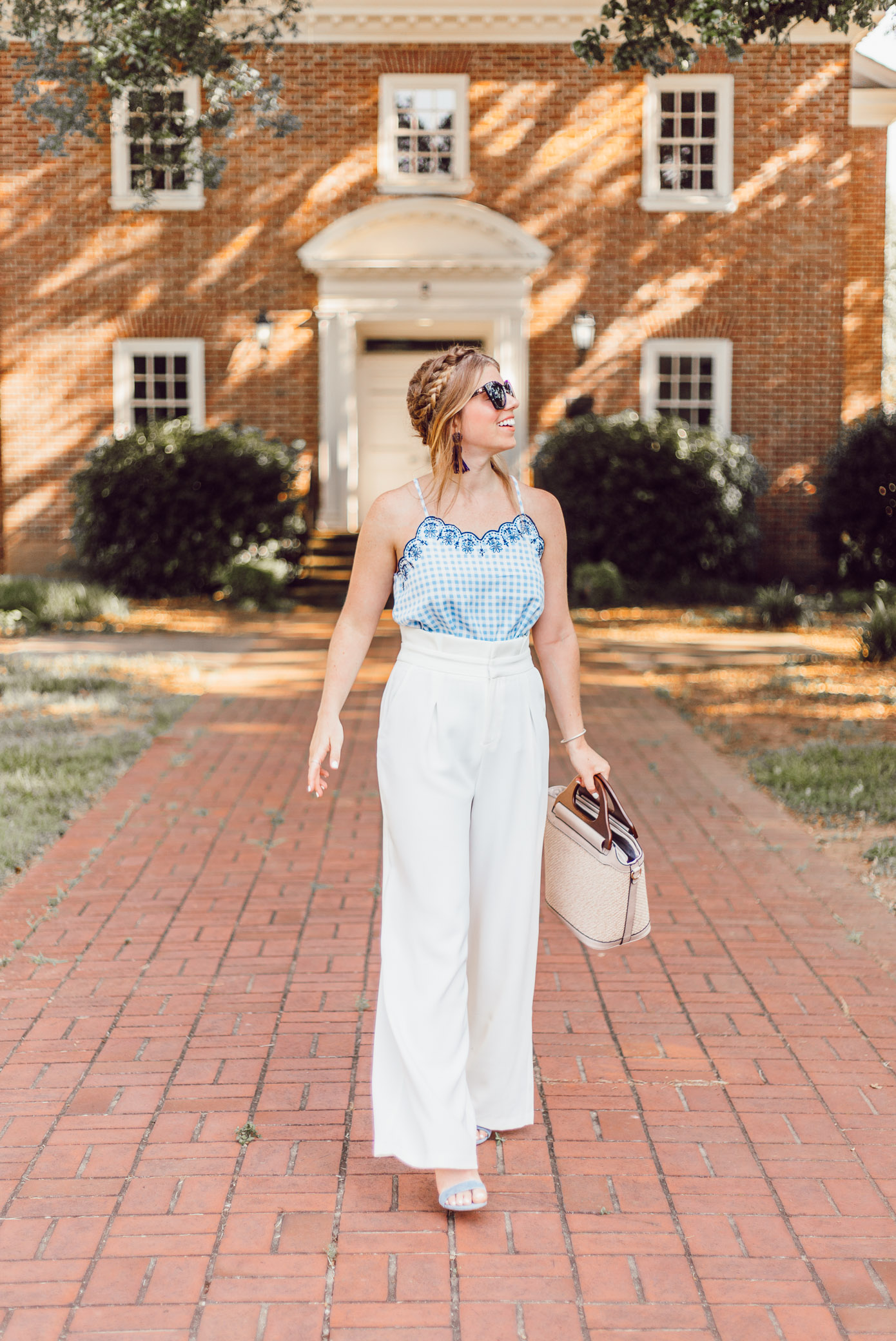 Summer Weekend Style from Friday to Sunday featured by Louella Reese | Gingham Tank, White Wide Leg Pants for Summer