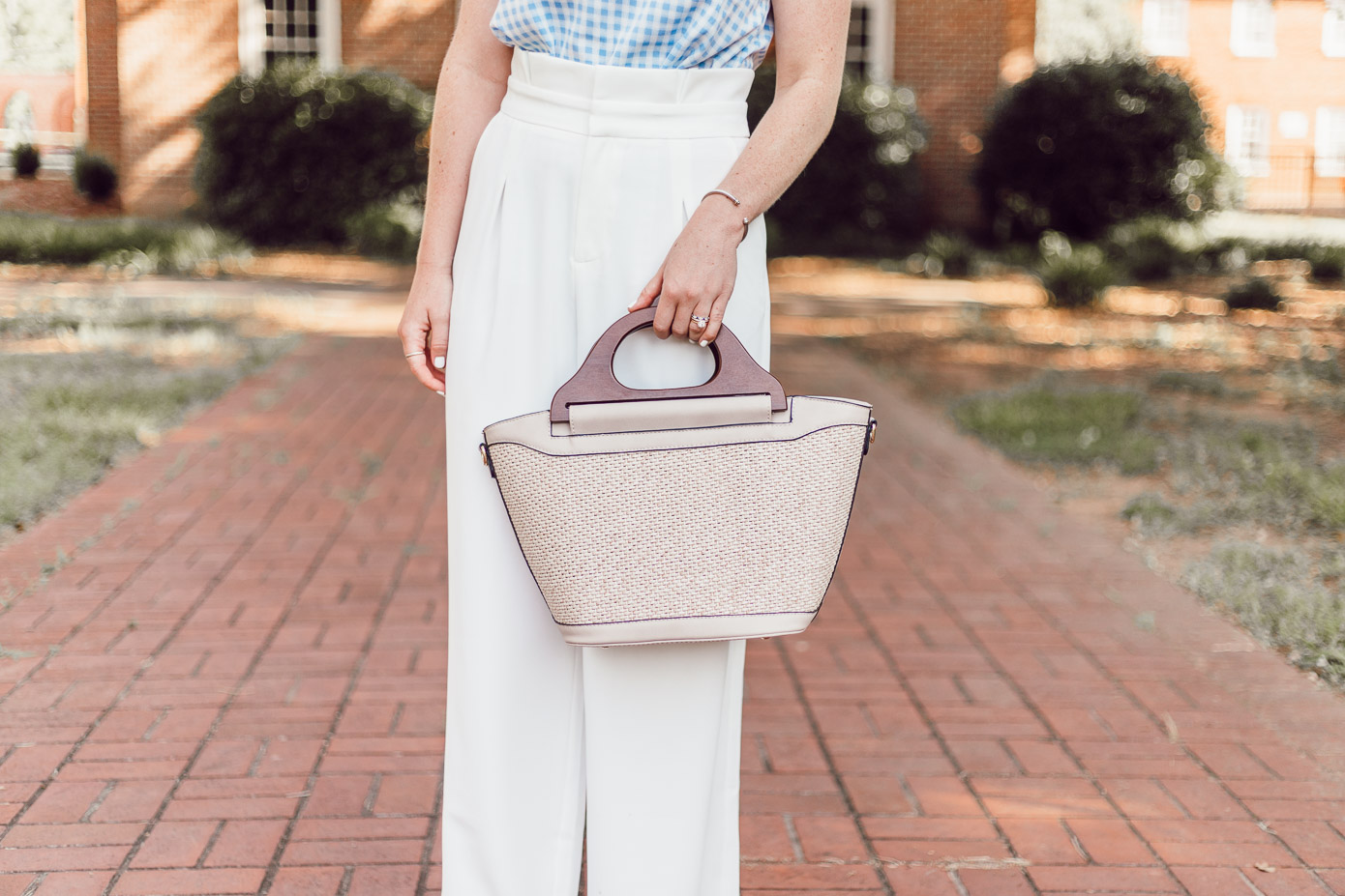 Summer Weekend Style from Friday to Sunday featured by Louella Reese | Structured Raffia Tote with Wood Handles, White Wide Leg Pants for Summer