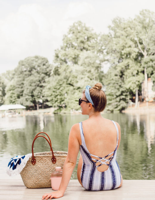July 2018 Recap featured on Louella Reese | Blue Striped One Piece, Straw Tote for Summer Days