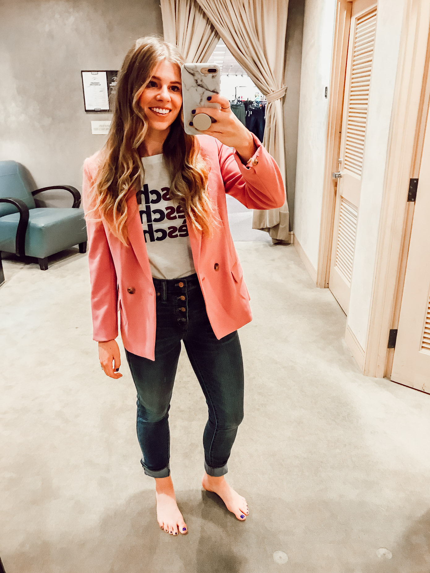 J.Crew Dover Blazer in Pink | 2018 Nordstrom Anniversary Fitting Room Session featured on Louella Reese Life & Style Blog