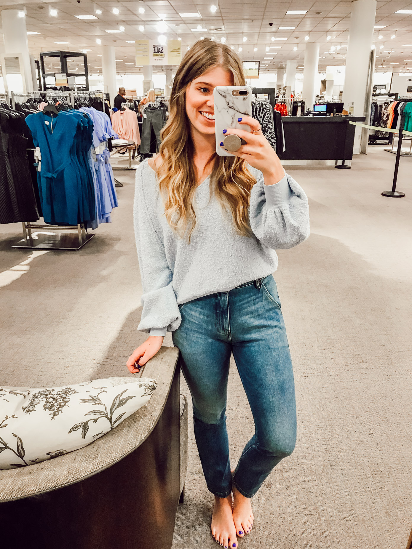 Free People Found My Friend Sweater | 2018 Nordstrom Anniversary Fitting Room Session featured on Louella Reese Life & Style Blog