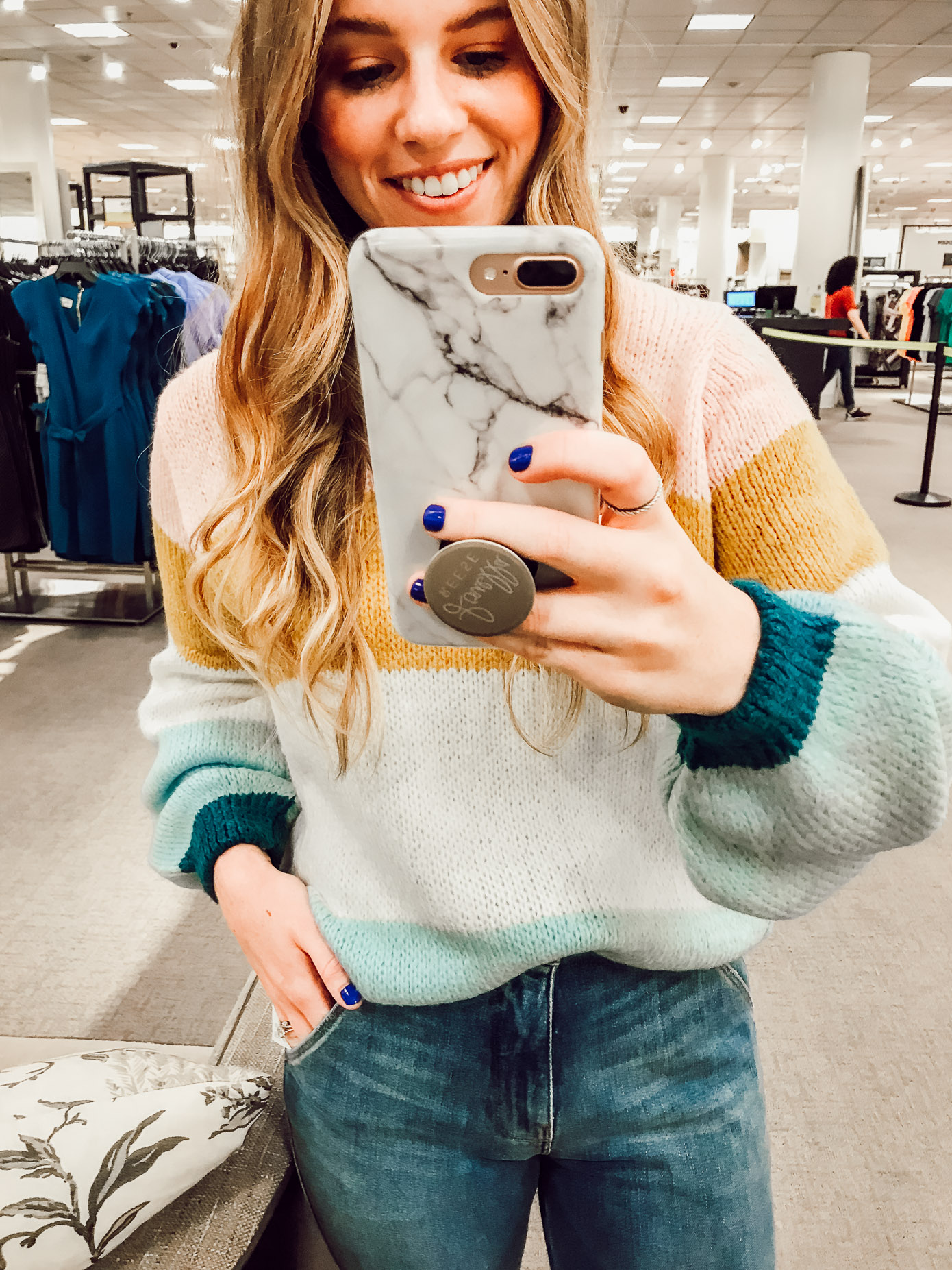 Topshop Colorblock Knit Pullover | 2018 Nordstrom Anniversary Fitting Room Session featured on Louella Reese Life & Style Blog