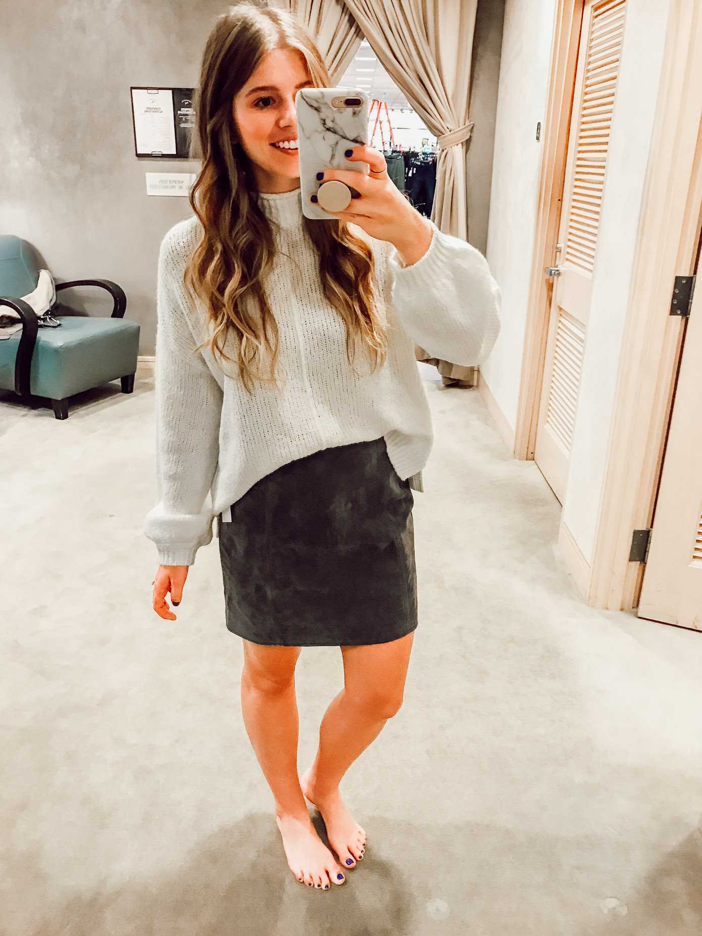 BP. Balloon Sleeve Sweater and BLANKNYC A-Line Suede Skirt | 2018 Nordstrom Anniversary Fitting Room Session featured on Louella Reese Life & Style Blog