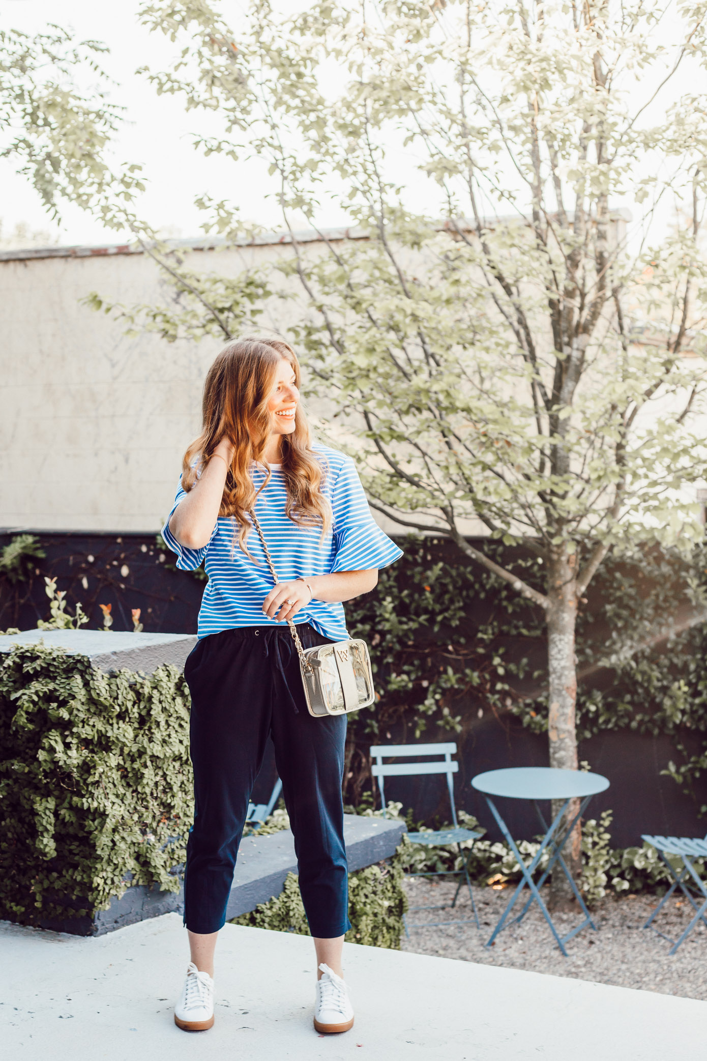 Navy Lightweight Joggers for Summer | How to Style Joggers for Summer featured on Louella Reese