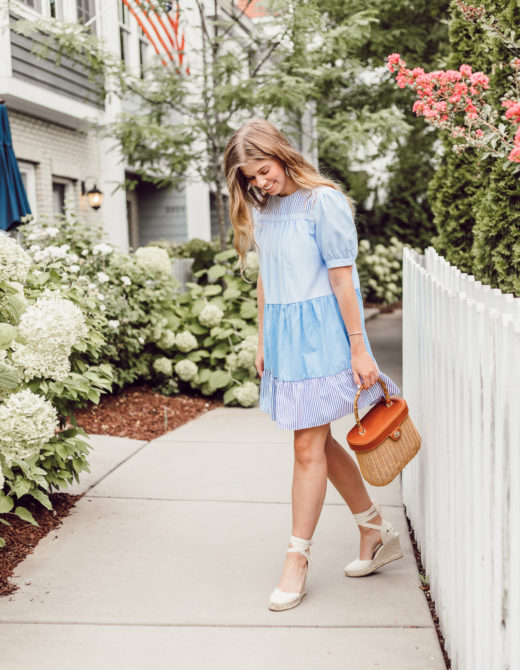 Laura Leigh Elliott styles a classic blue and white babydoll dress from English Factory in Charlotte, NC // Louella Reese