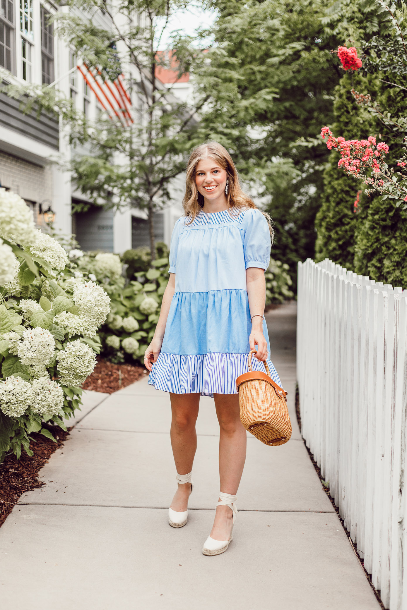 Everyday blue and white summer dresses that can be worn to any occasion | English Factory Summer Dress | Louella Reese