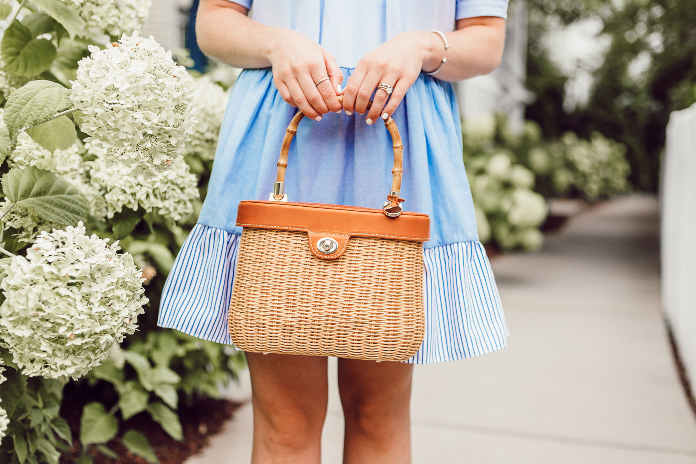 English Factory Summer Dress in Charlotte, NC // Blue and White Dress for Summer, Structured Basket Bag | Louella Reese