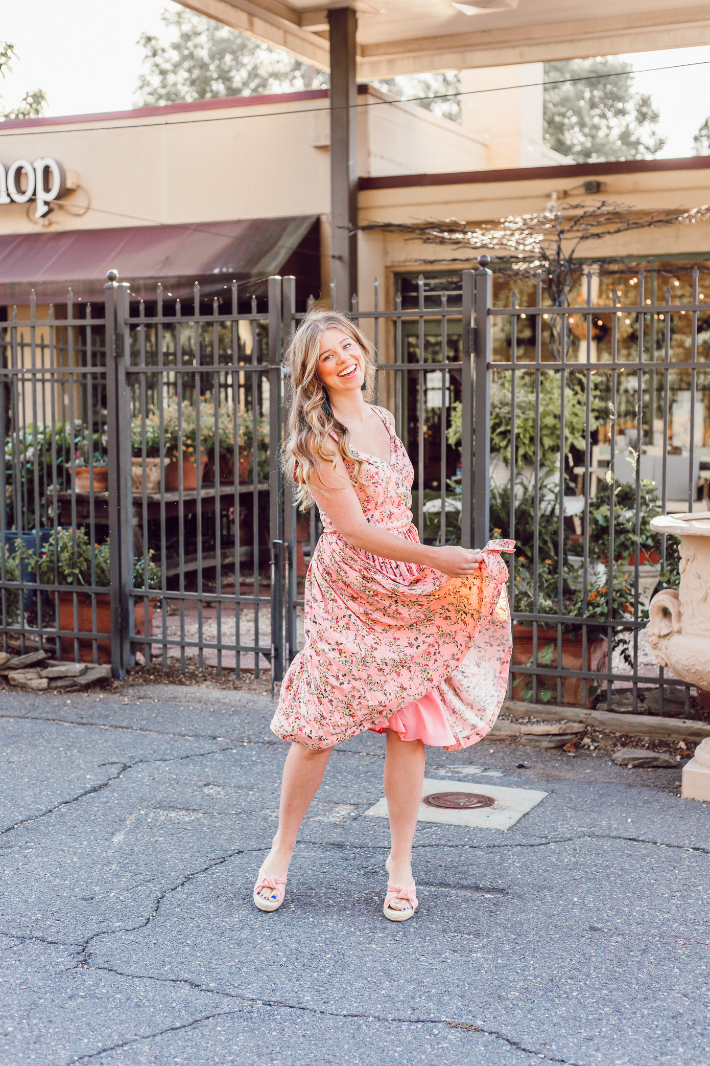 Pink Floral Sundress, Summer Wedding Guest Dress styled on Louella Reese Life & Style Blog | Gal Meets Glam Collection Dress