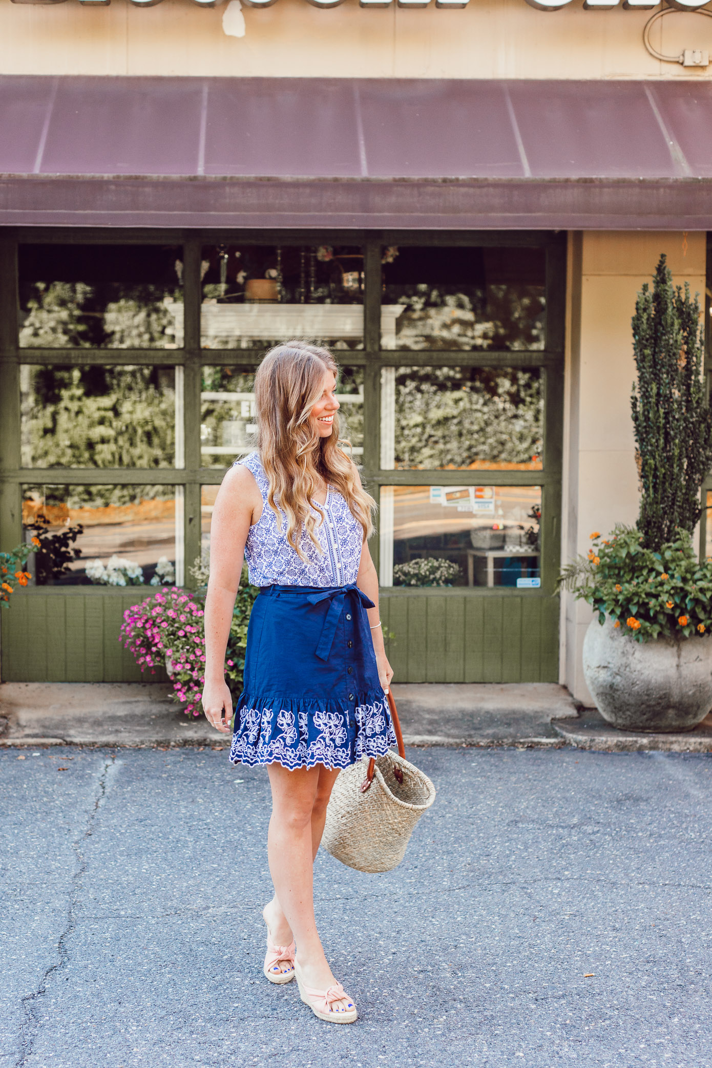 Summer Blues: Favorite Blue and White Pieces for Summer | Navy Embroidered Skirt and Geometric Tank styled on Louella Reese Life & Style Blog