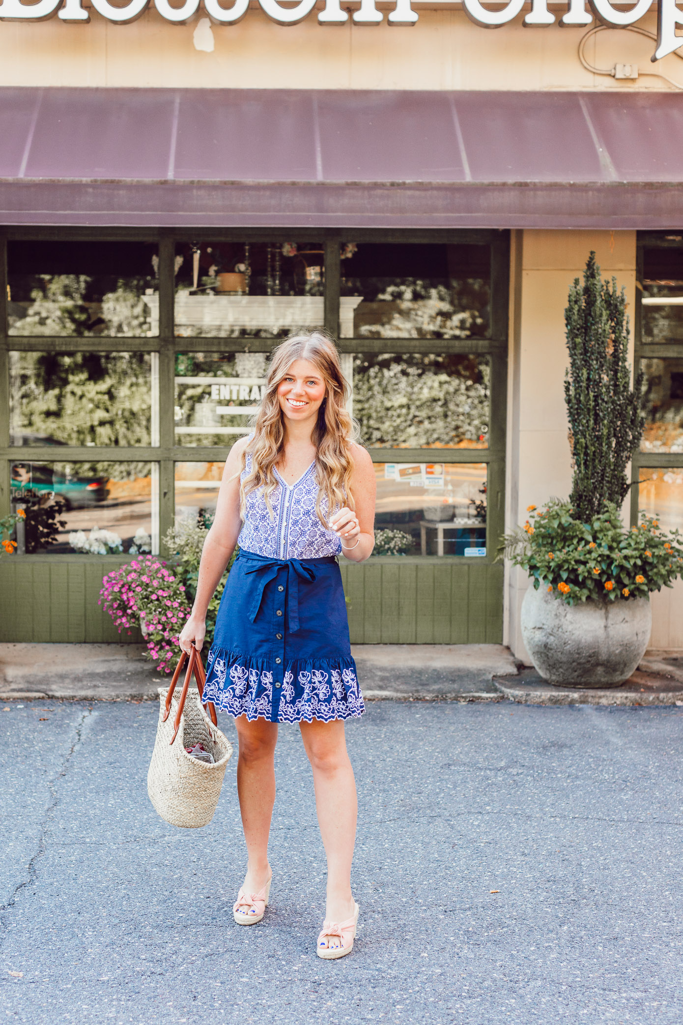 Summer Blues: Favorite Blue and White Pieces for Summer | Navy Embroidered Skirt styled on Louella Reese Blog