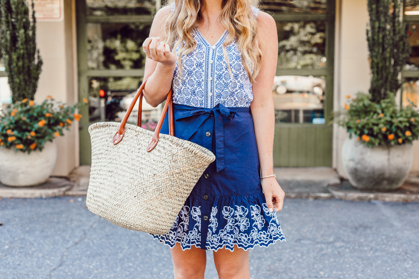 Summer Blues: Favorite Blue and White Pieces for Summer | Navy Embroidered Skirt styled on Louella Reese Life & Style Blog