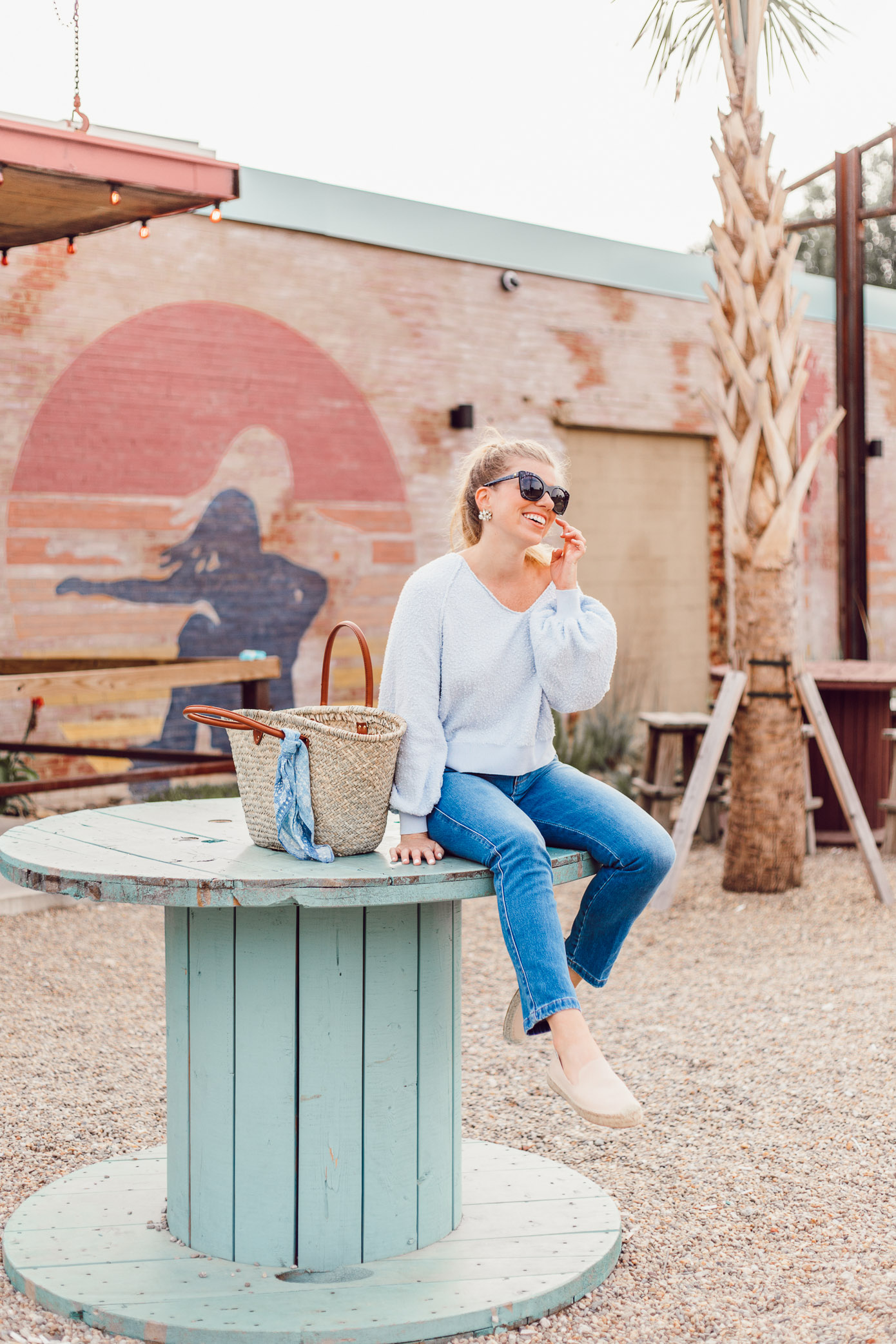 Summer Everyday Casual | Free People Found My Friend Sweater, FRAME Le Slender Straight Leg Jeans styled on Louella Reese Blog