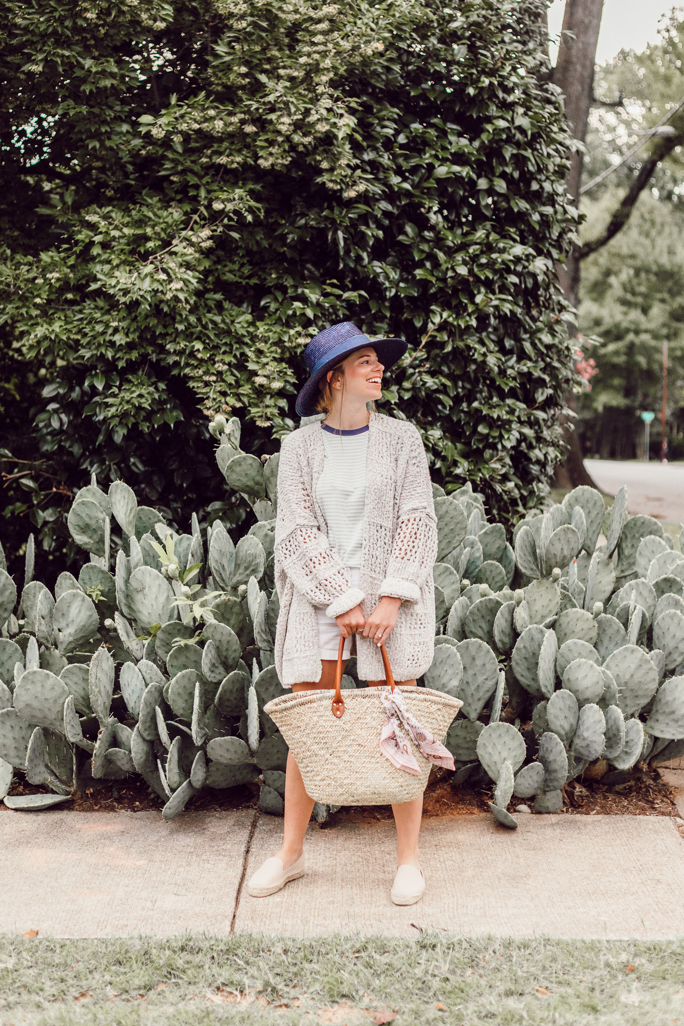 Navy Straw Hat, Free People Saturday Morning Cardigan, Green and White Striped Tee | Casual Late Summer Outfit Idea featured on Louella Reese