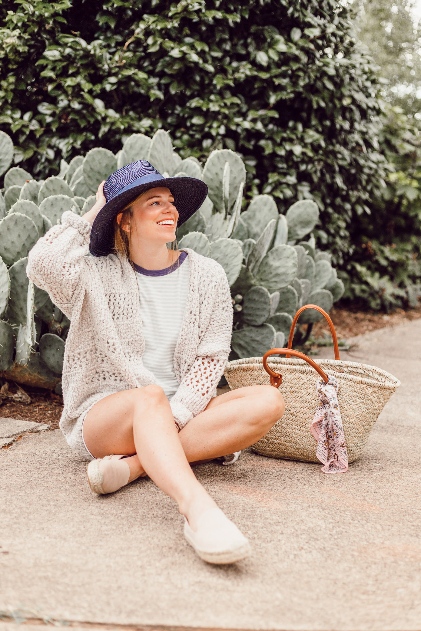 Navy Straw Hat, Free People Saturday Morning Cardigan | Casual Late Summer Outfit Idea featured on Louella Reese Blog