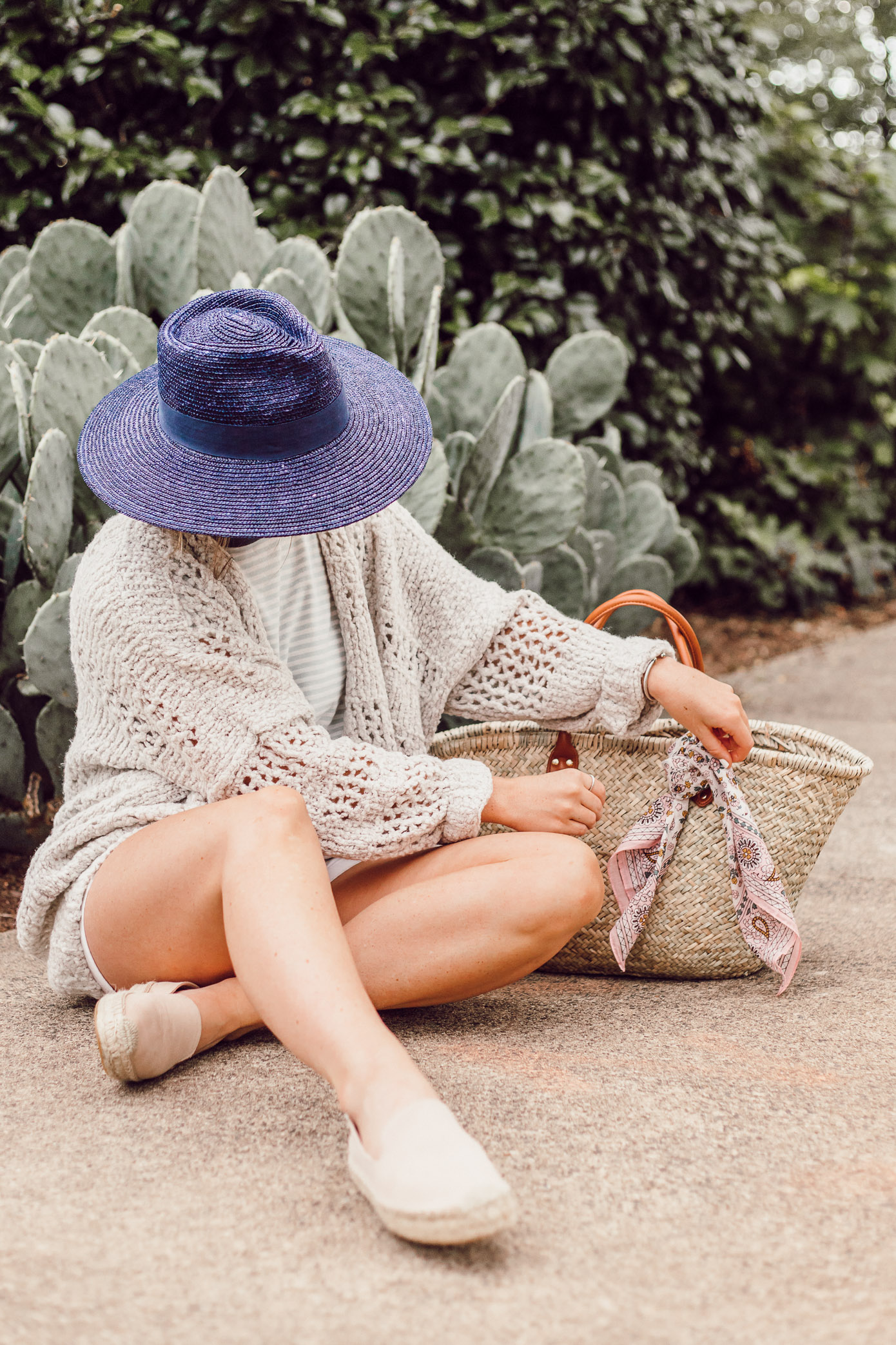 Navy Straw Hat, Free People Saturday Morning Cardigan, Natural Straw Tote | Casual Late Summer Outfit Idea featured on Louella Reese