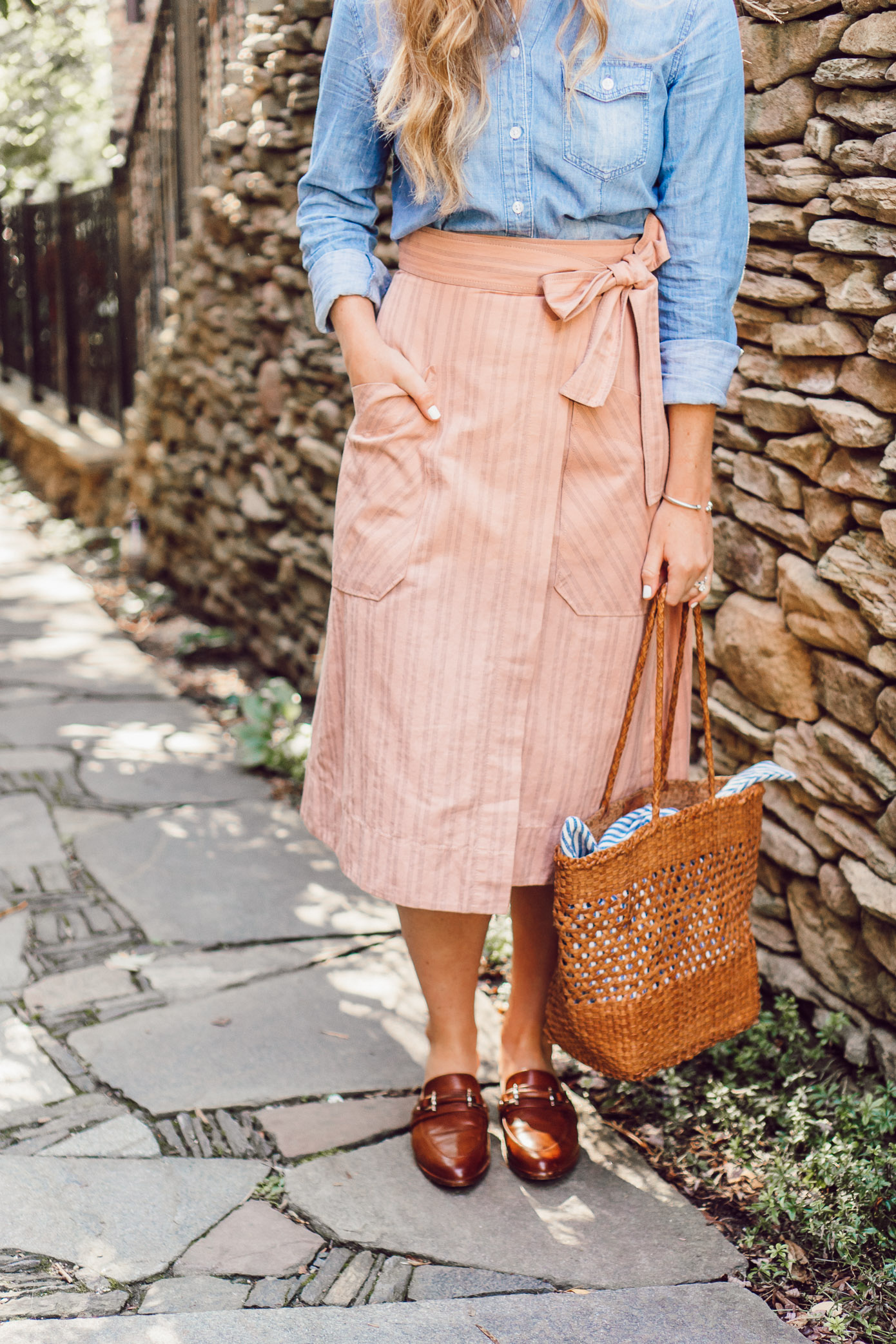 Fall Chambray Three Ways for Three Different Body Types | Rebecca Taylor Stripe Wrap Midi Skirt styled on Louella Reese