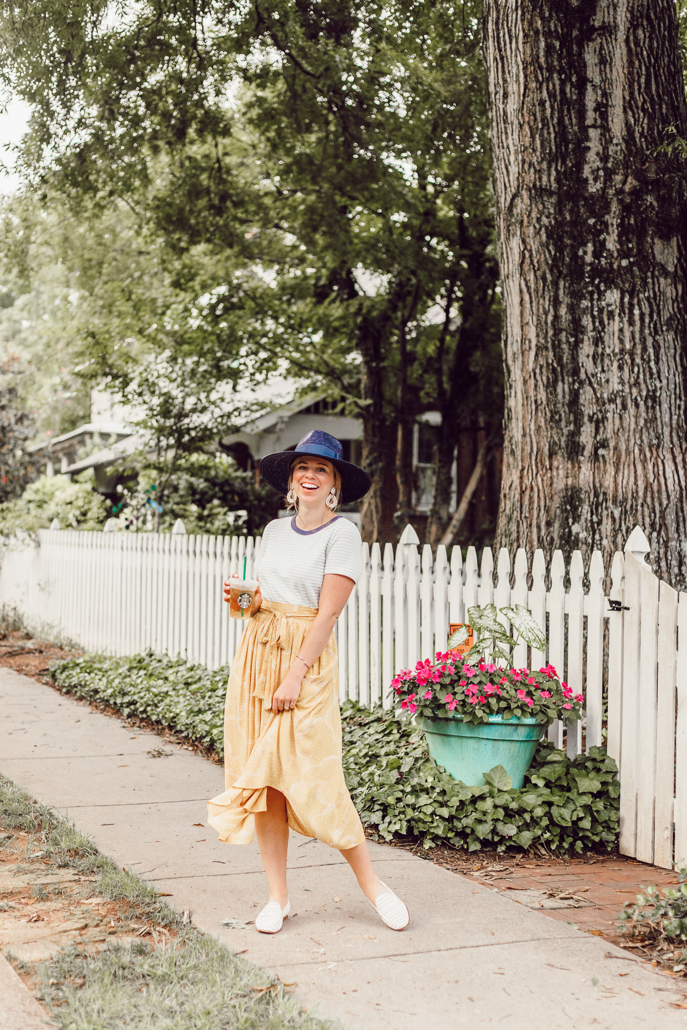 Preppy Casual Summer Style, Yellow Midi Skirt for Late Summer, Early Fall | What to Cross Off Your Late Summer Bucket List featured on Louella Reese
