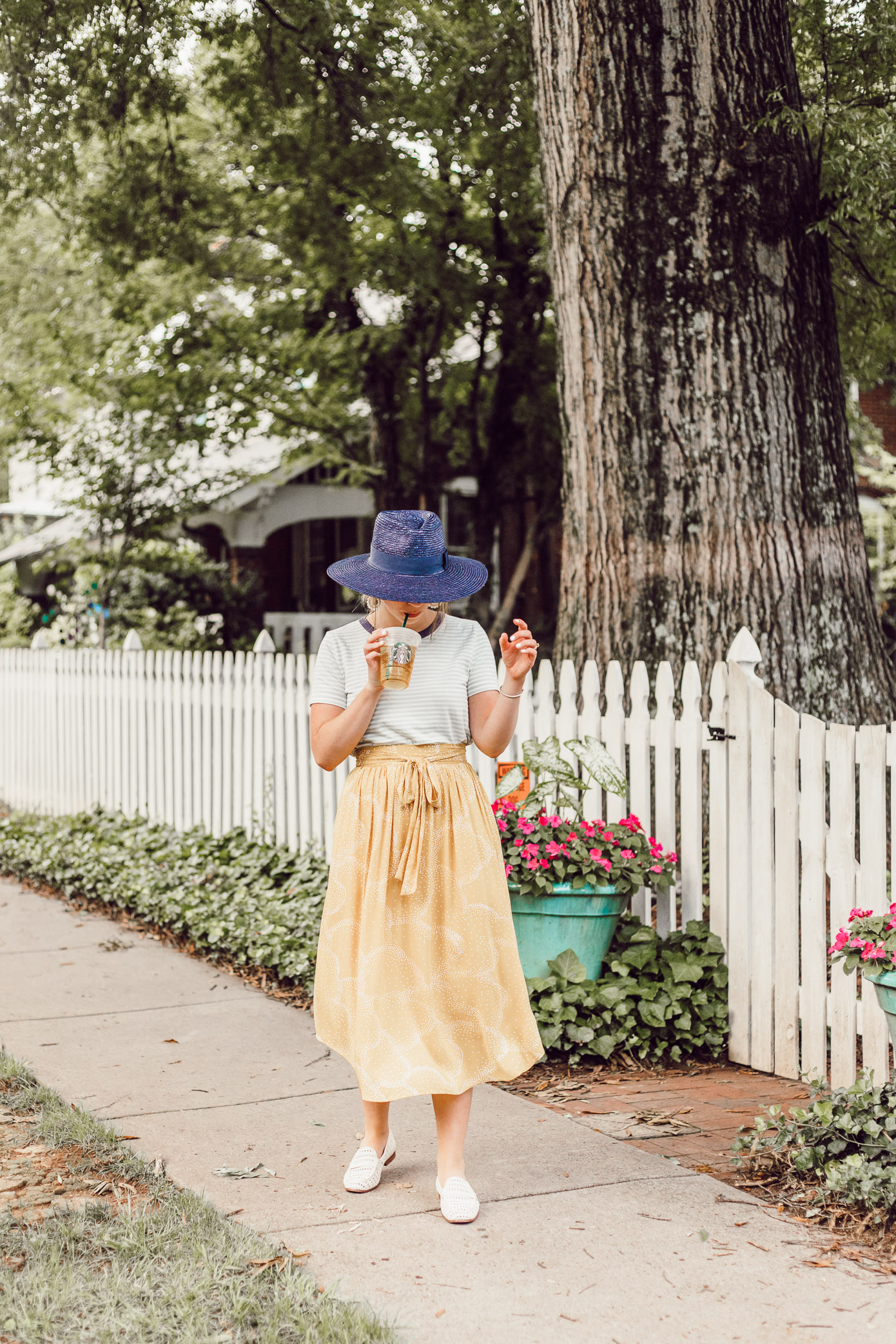 Yellow Midi Skirt for Late Summer, Early Fall | Late Summer Bucket List featured on Louella Reese Blog