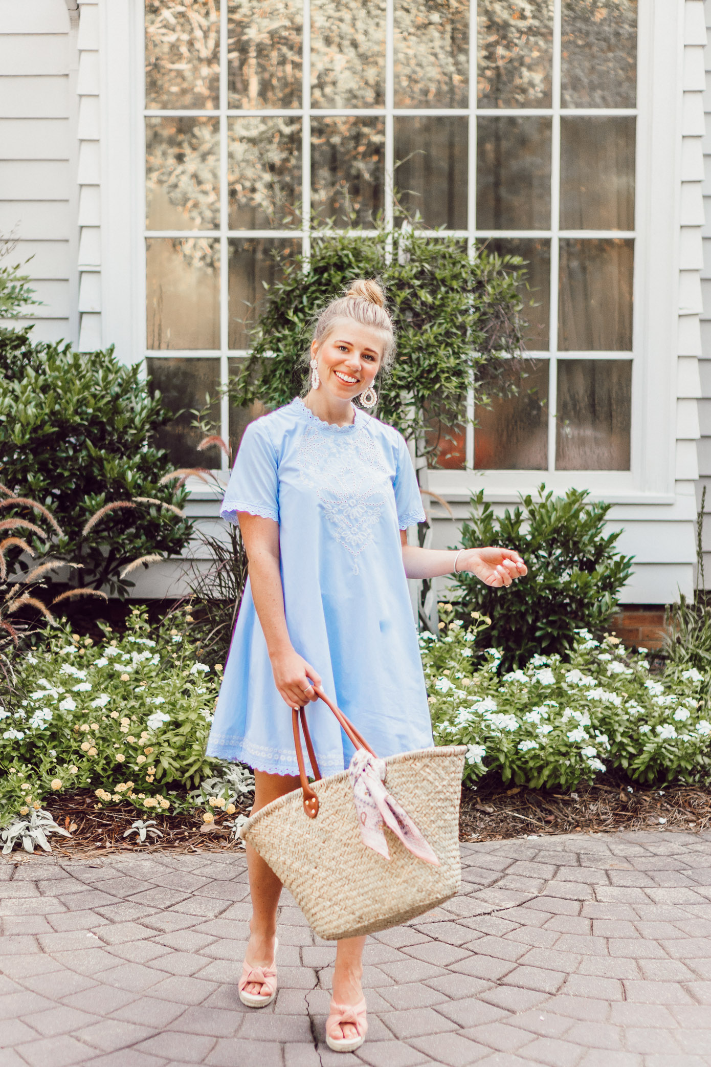 Blue Swing Dress and Straw Tote Bag | The Morehead Inn Charlotte NC Bed & Breakfast featured on Louella Reese Life & Style Blog