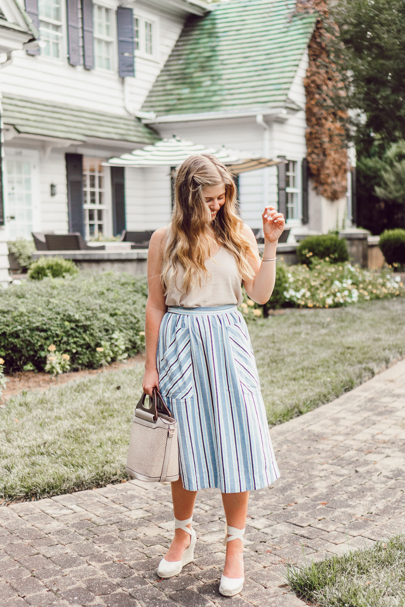 Blue and White Striped Midi Skirt | The Morehead Inn Charlotte NC Bed & Breakfast featured on Louella Reese Life & Style Blog