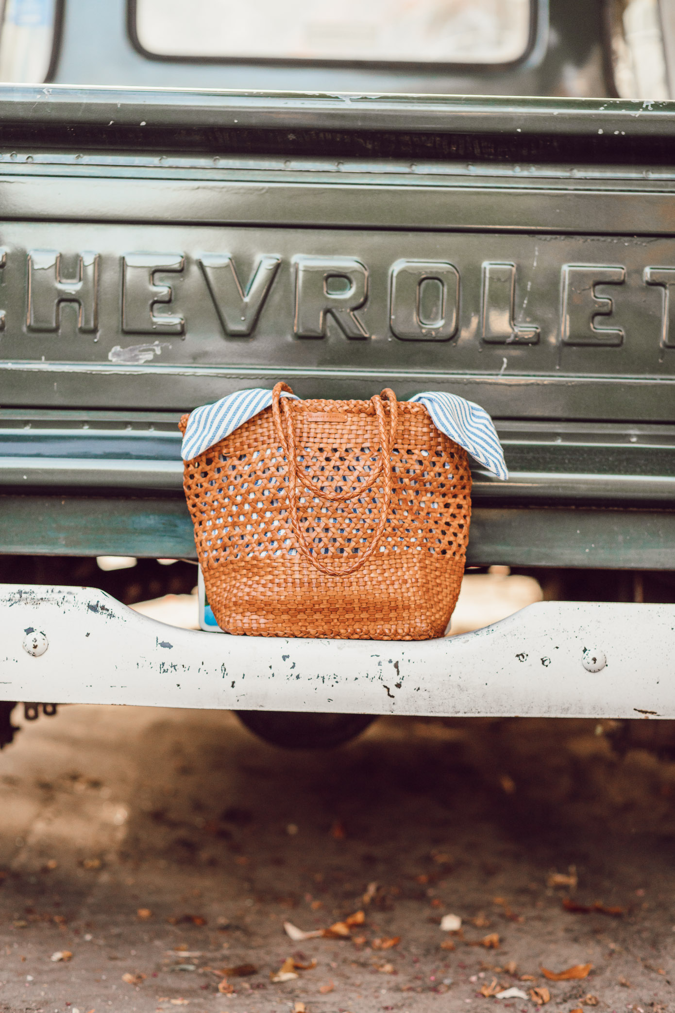 Loeffler Randall Maya Woven Leather Shopper Tote styled on Louella Reese Blog