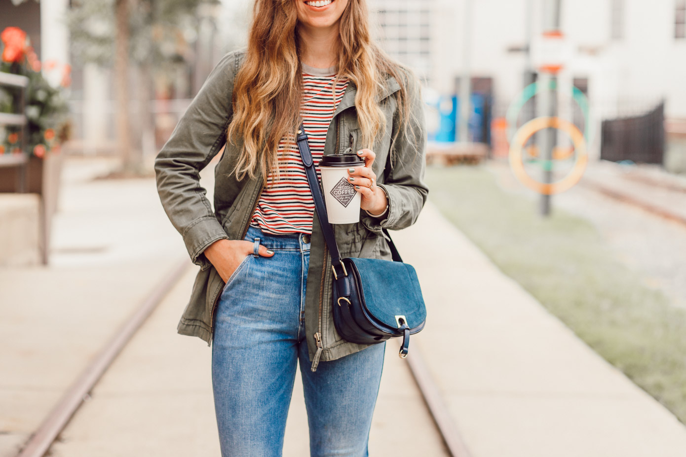 Best Coffee Shops in Charlotte NC featured on Louella Reese | Blue and Red Striped Tee, Madewell Fleet Jacket