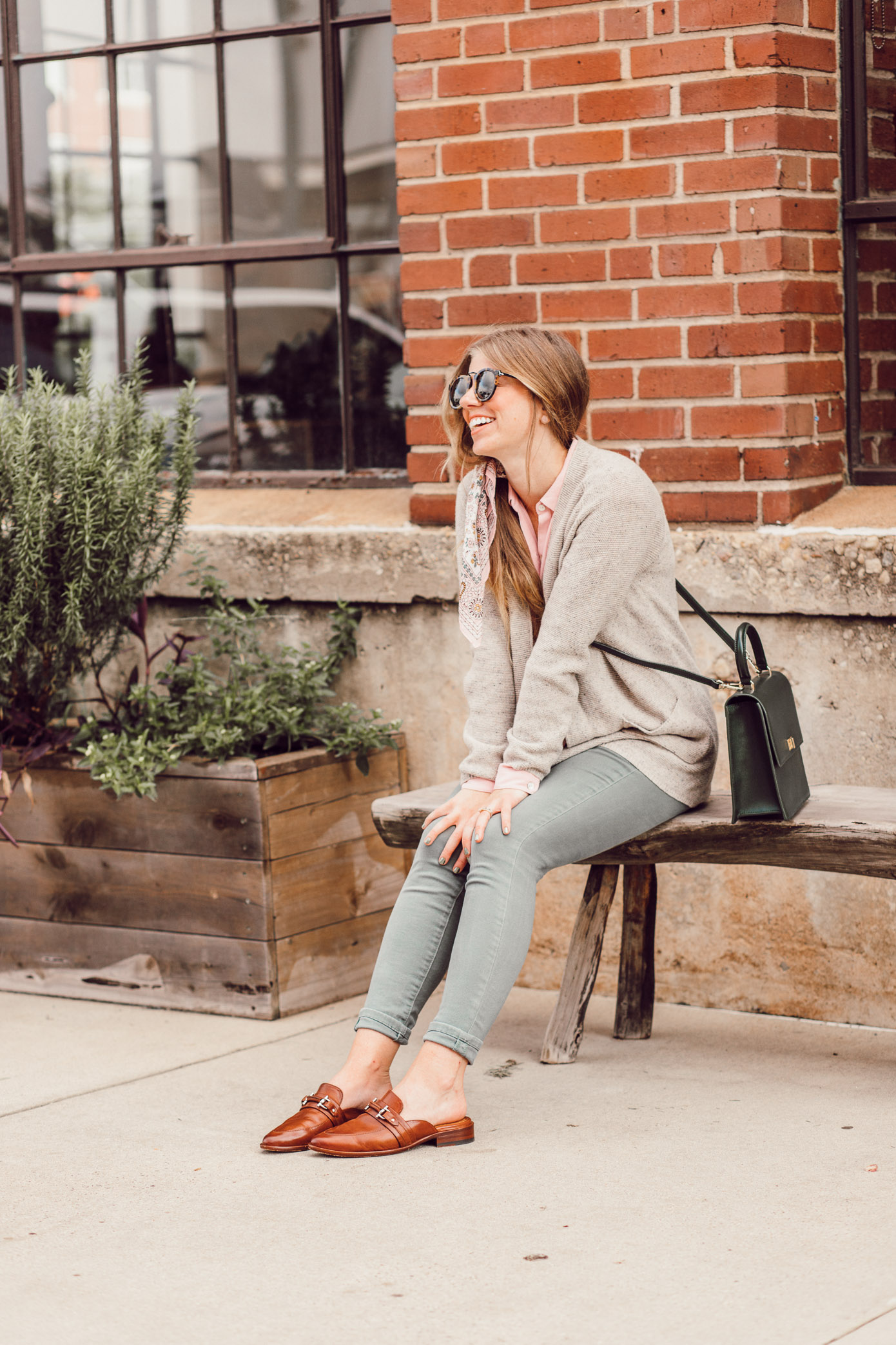 Feminine Fall Color Combo to Try featured on Louella Reese | Olive Jeans for Fall, Brown Leather Mules