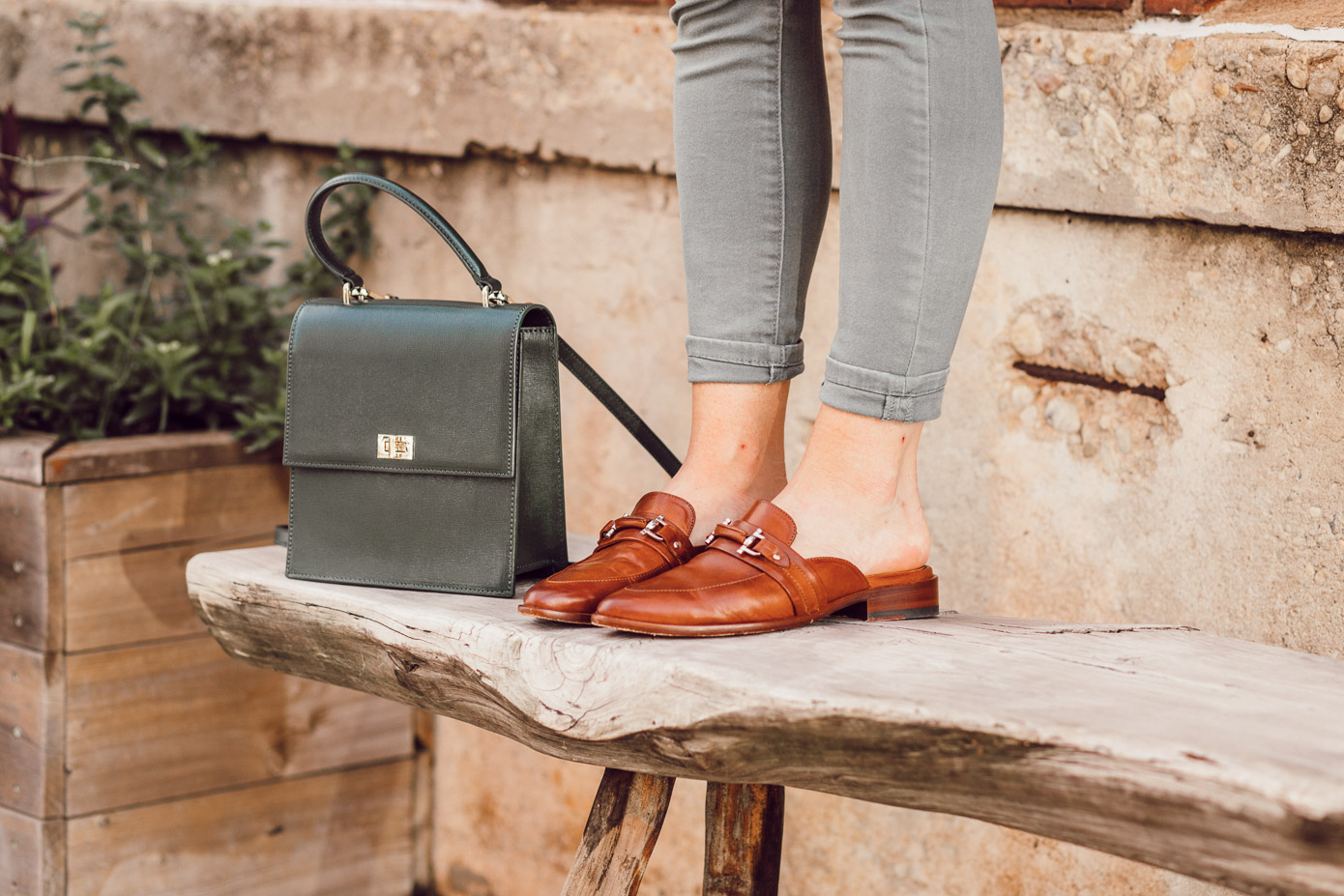 Feminine Fall Color Combo to Try featured on Louella Reese | Brown Leather Mules for Fall
