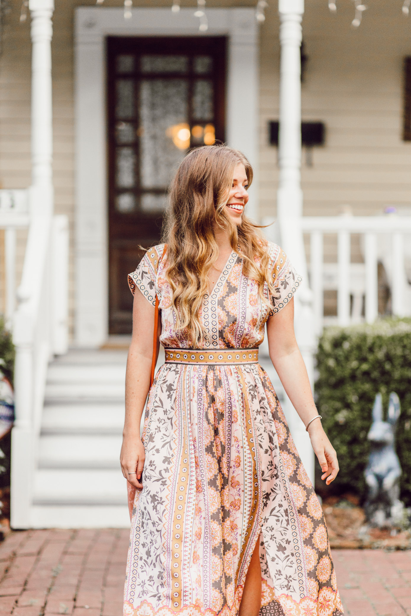 Fall Midi Dresses | Gal Meets Glam Collection Liza Dress styled for Fall on Louella Reese