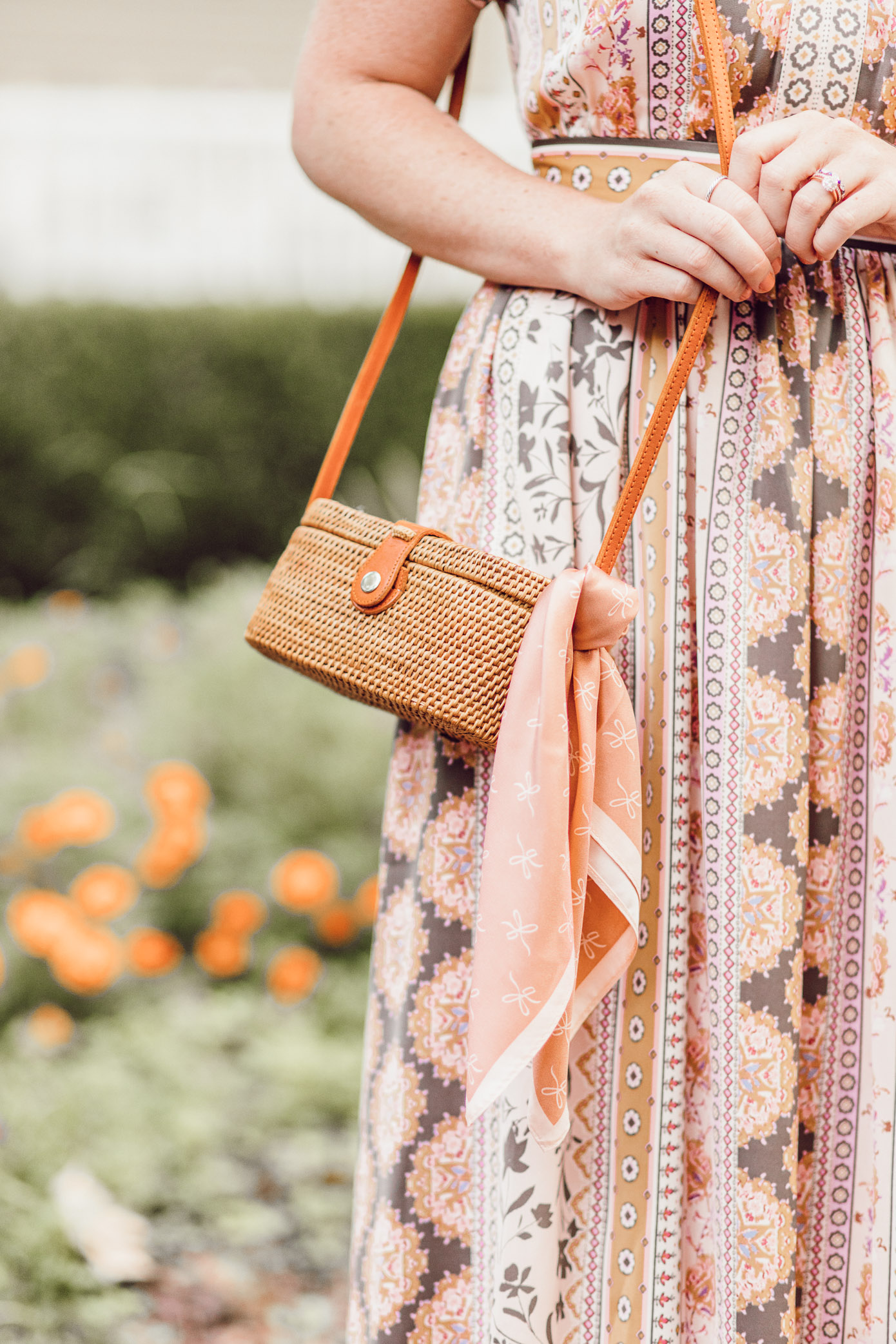 Woven Rattan Cross Body Bag | Gal Meets Glam Collection Liza Dress styled for Fall on Louella Reese