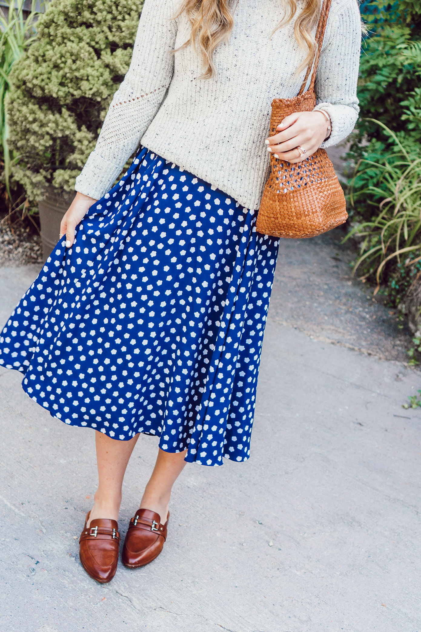 Fall Polka Dots | Kate Spade New York Cloud Dot Midi Dress and Two24 by Ariat Jubilee Mules styled on Louella Reese