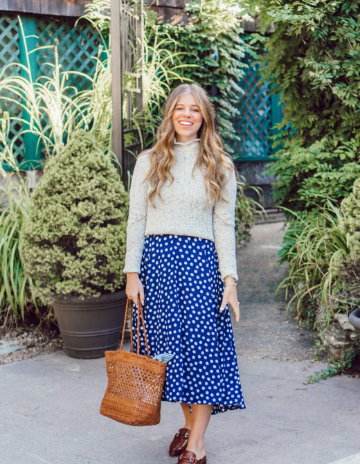 Fall Polka Dots   How to Style a Dress as a Skirt for Fall featured on Louella Reese