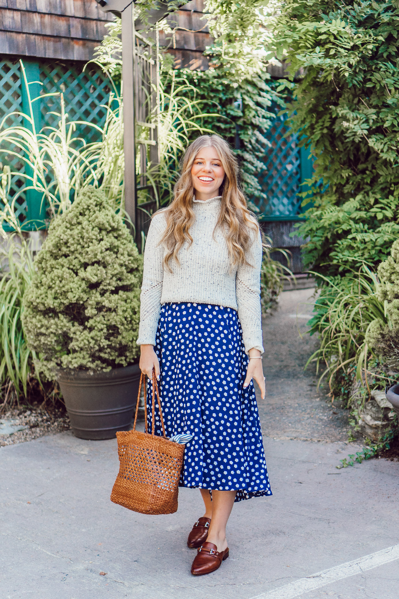 Fall Polka Dots | How to Style a Dress as a Skirt for Fall featured on Louella Reese