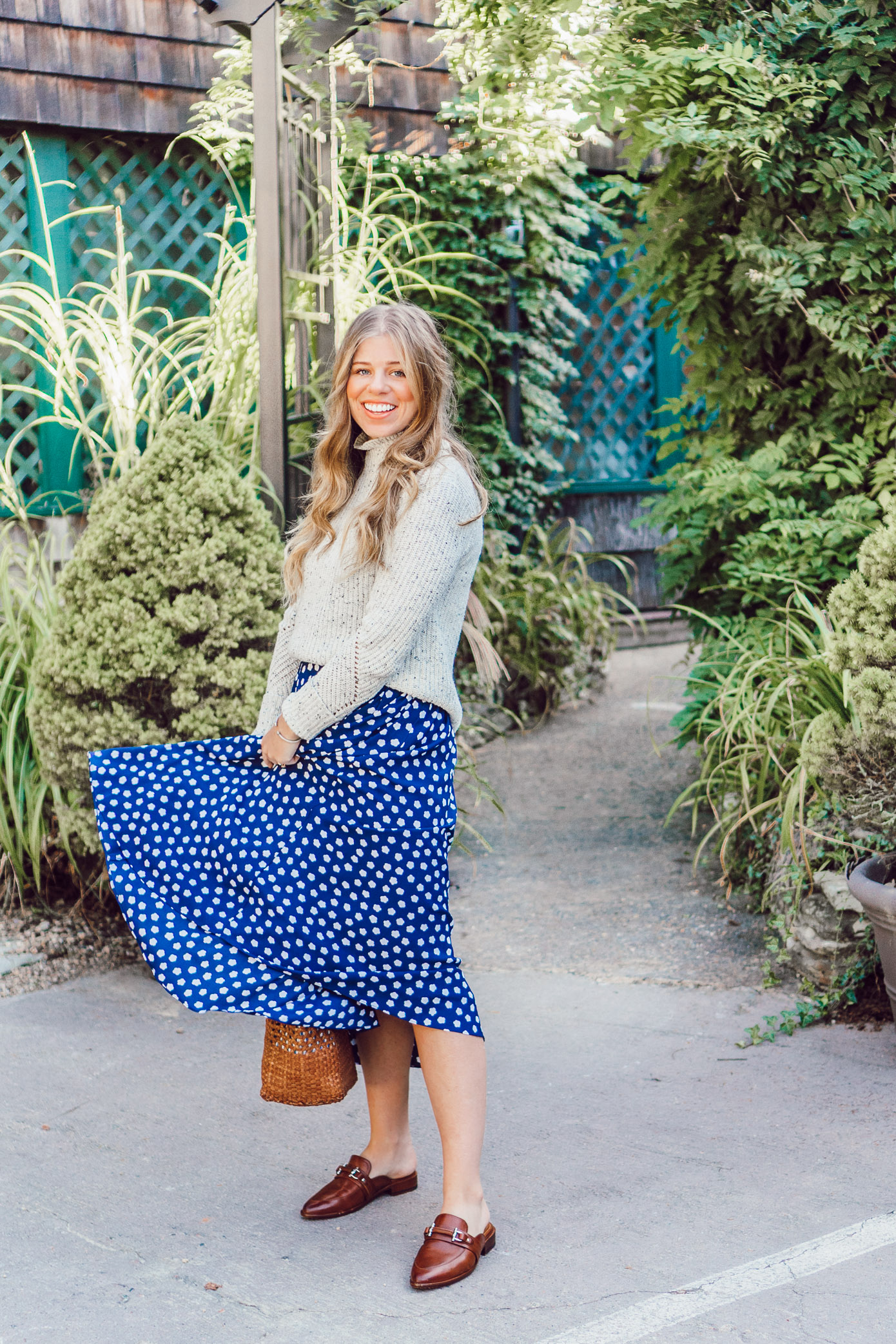 Fall Polka Dots | Kate Spade New York Cloud Dot Mid Dress and Joie Adaliz Sweater styled on Louella Reese