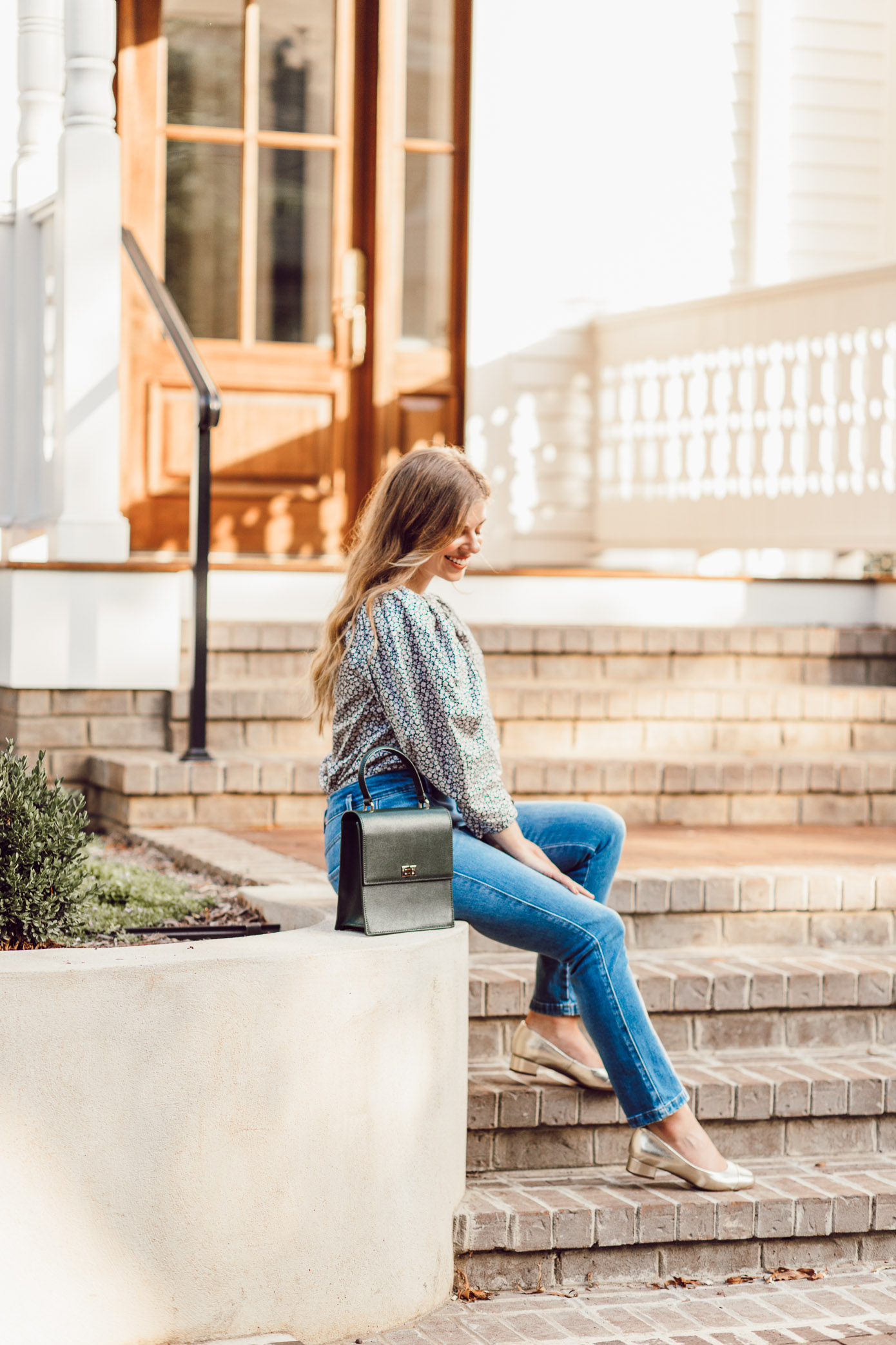 Fall Statement Sleeve Tops - Rebecca Taylor Lauren Poplin Top featured by popular Charlotte style blogger, Laura Leigh of Louella Reese