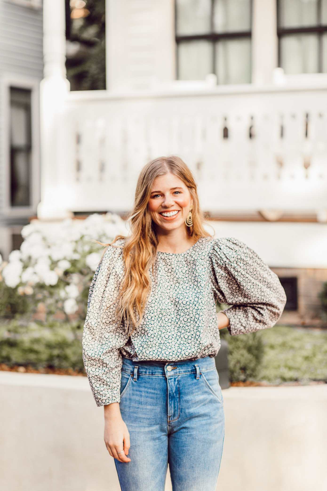 Fall Statement Sleeve Tops - Rebecca Taylor Lauren Poplin Top styled by popular Charlotte style blogger, Laura Leigh of Louella Reese
