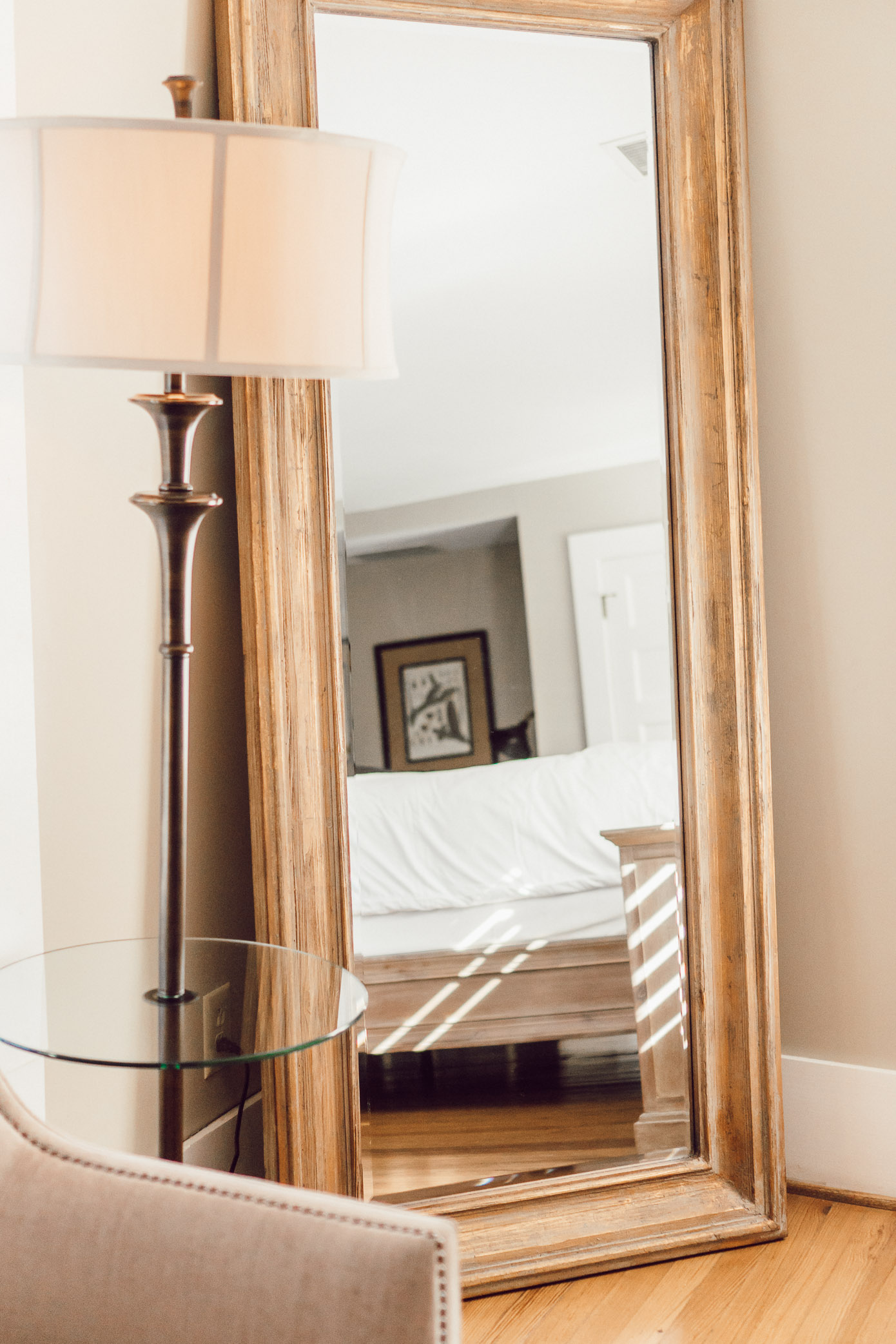 Gold Framed Floor Length Mirror | Blowing Rock Bed and Breakfast: The New Public House featured by popular North Carolina travel blogger Laura Leigh of Louella Reese