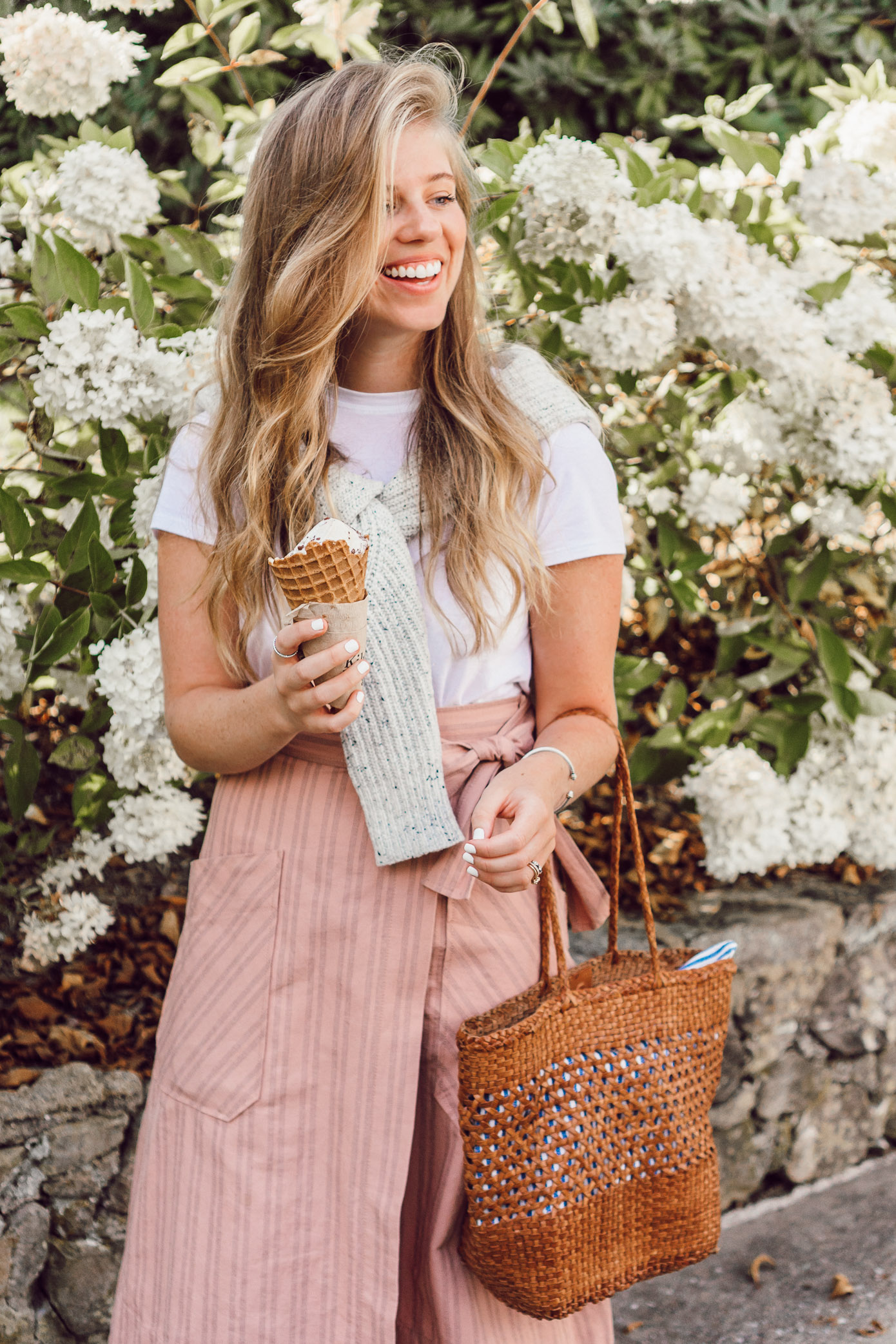 Casual Feminine Fall Style, Pink Striped Wrap Midi Skirt styled on Louella Reese | Preppy Fall Style
