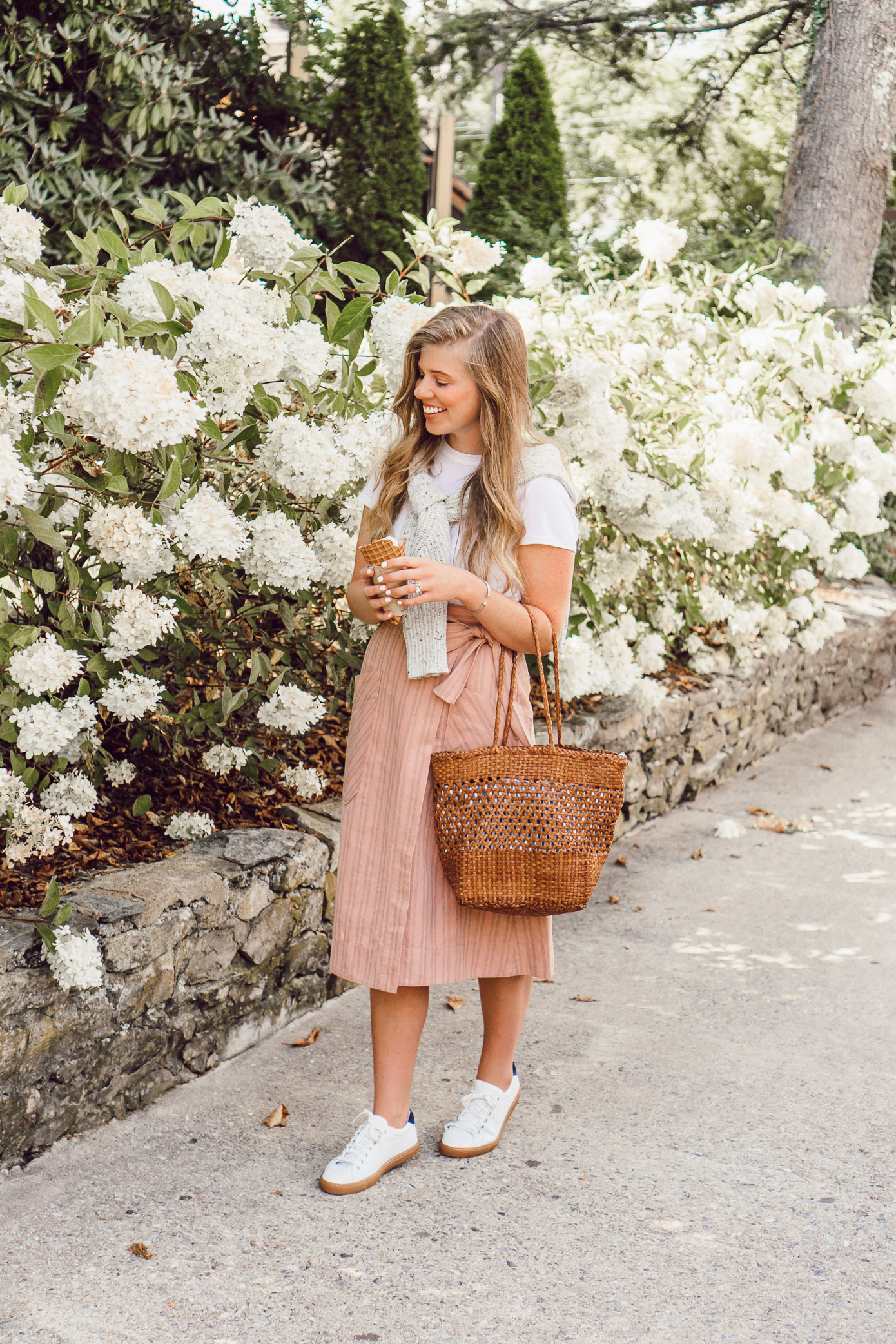 Casual Feminine Fall Style, Pink Striped Wrap Midi Skirt styled on Louella Reese