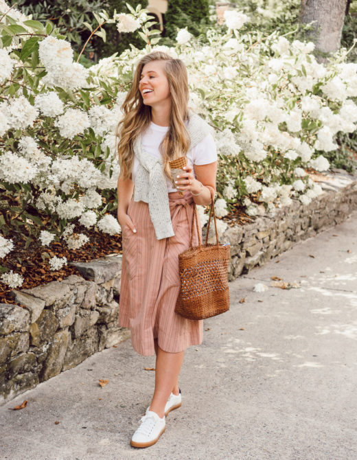 Preppy Fall Outfit Idea   Pink Striped Wrap Midi Skirt styled on Louella Reese for an Easy Casual Fall Look