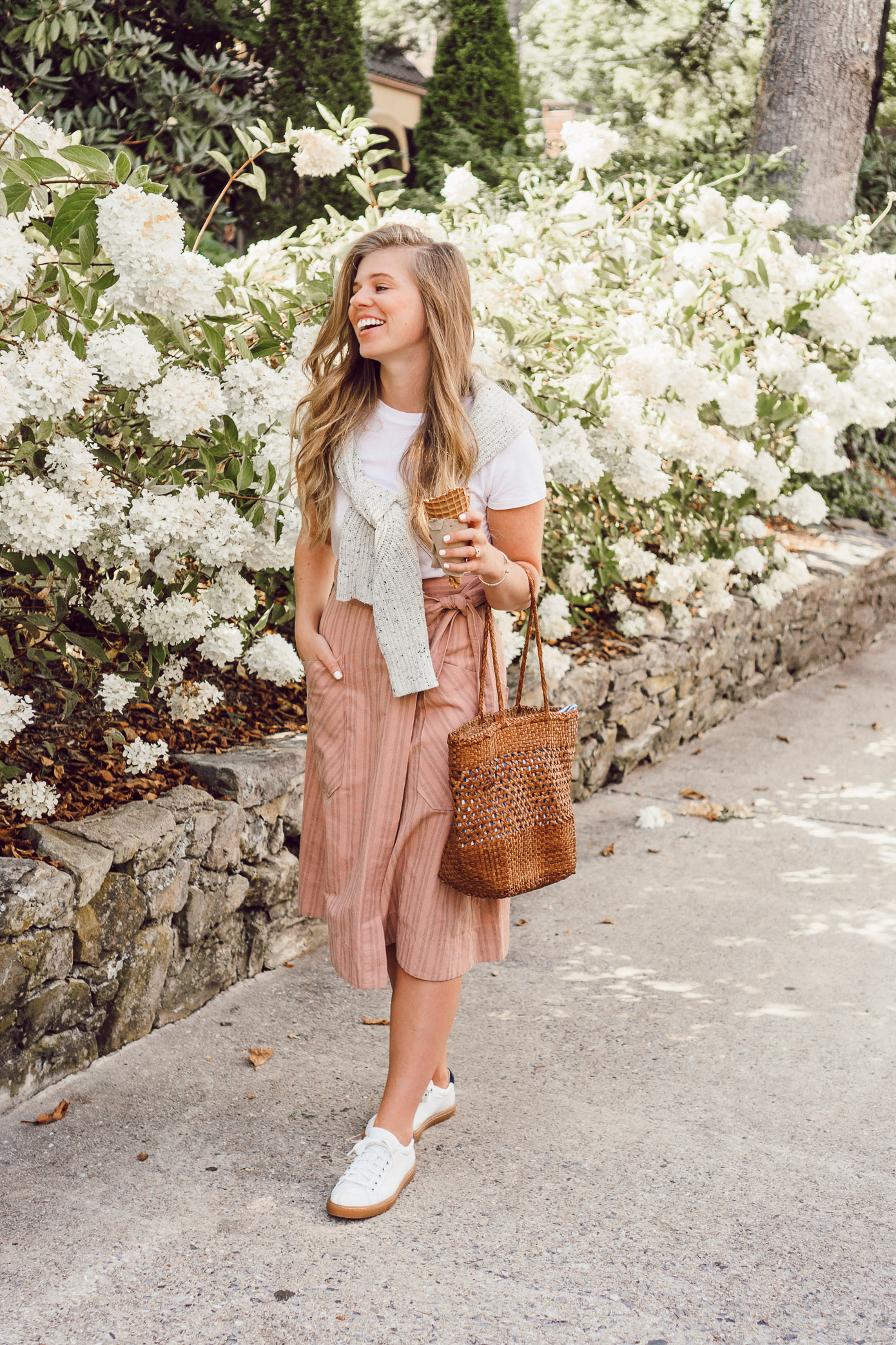 Preppy Fall Outfit Idea | Pink Striped Wrap Midi Skirt styled on Louella Reese for an Easy Casual Fall Look